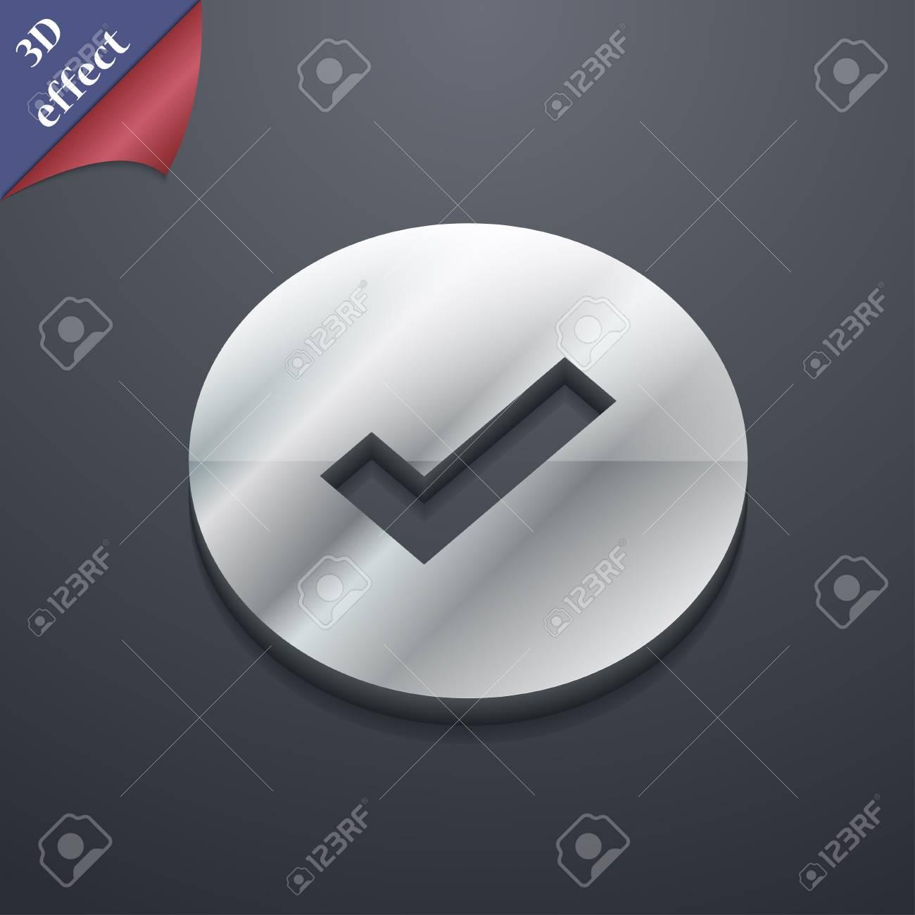 Check Mark Tik Icon Symbol 3d Style Trendy Modern Design Stock