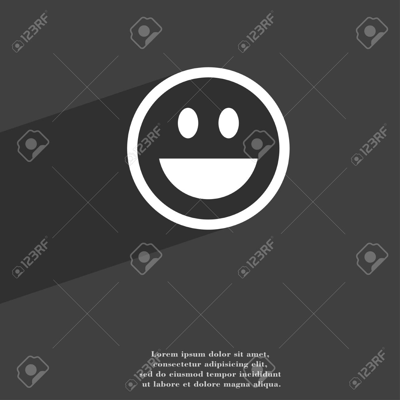 Funny Face Icon Symbol Flat Modern Web Design With Long Shadow