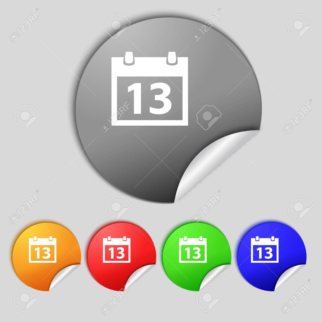 Imposta Calendario.Icona Del Segno Di Calendario Simbolo Del Mese Pulsante Data Imposta Pulsanti Colur Illustrazione