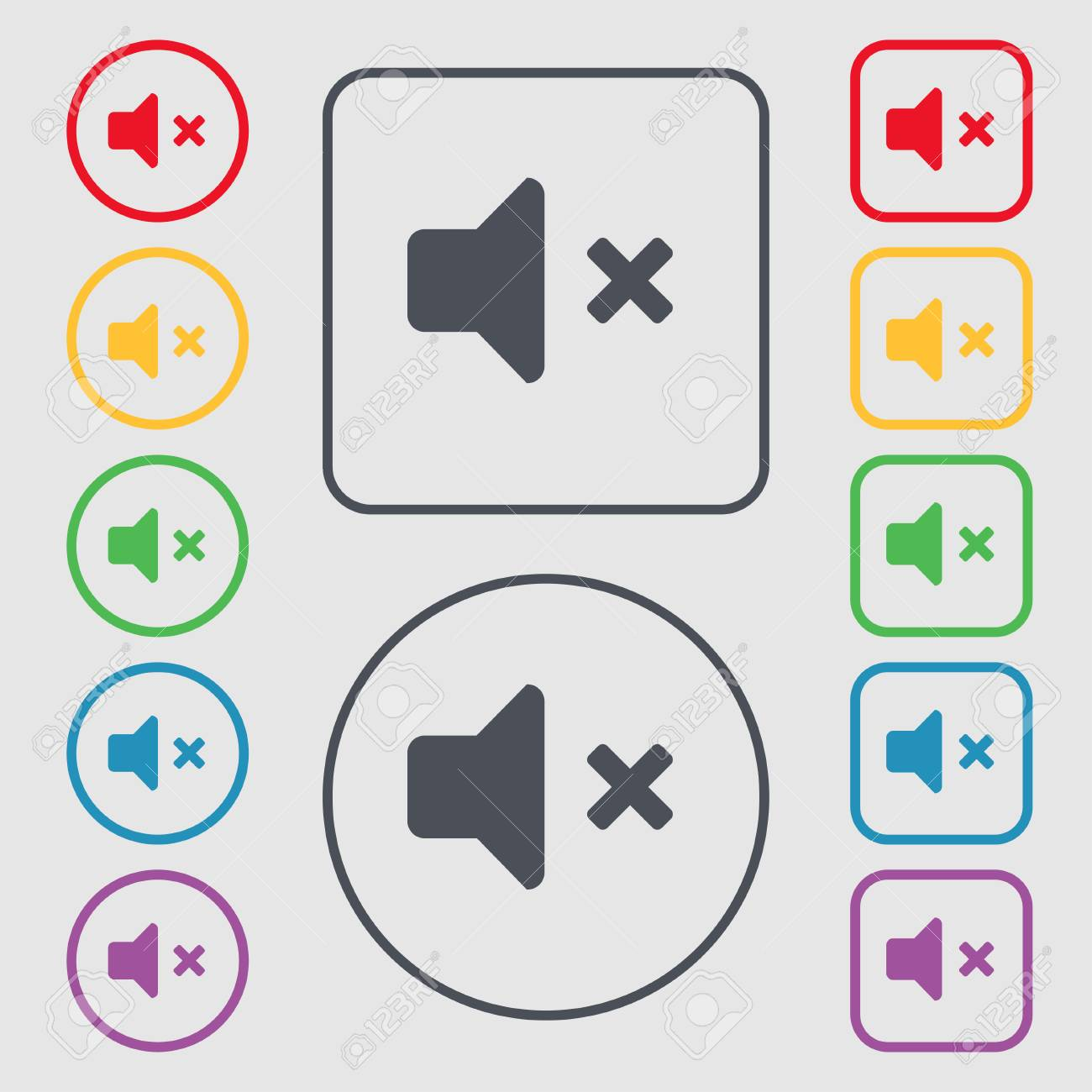Mute speaker sound icon sign symbol on the round and square mute speaker sound icon sign symbol on the round and square buttons with frame jeuxipadfo Images