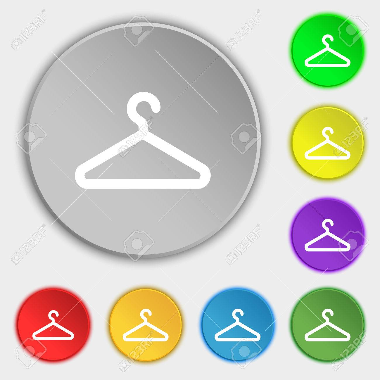 Clothes Hanger Icon Sign Symbol On Five Flat Buttons Illustration