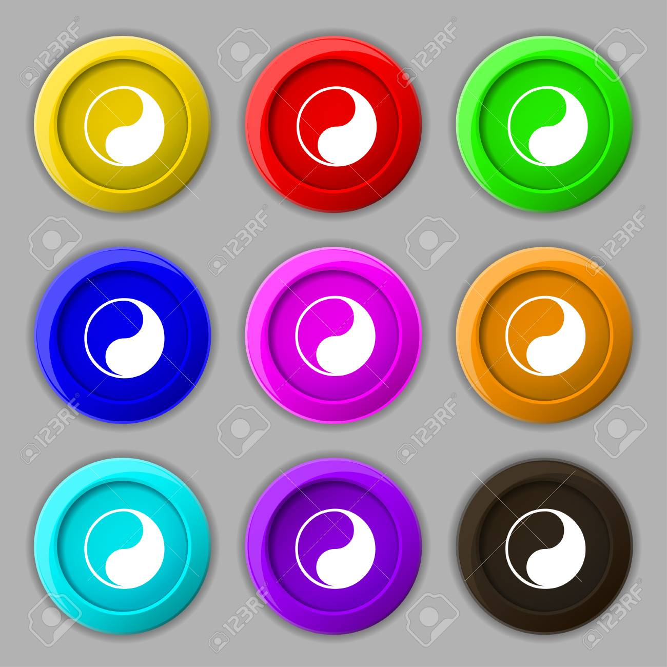 Yin Yang Icon Sign Symbol On Nine Round Colourful Buttons