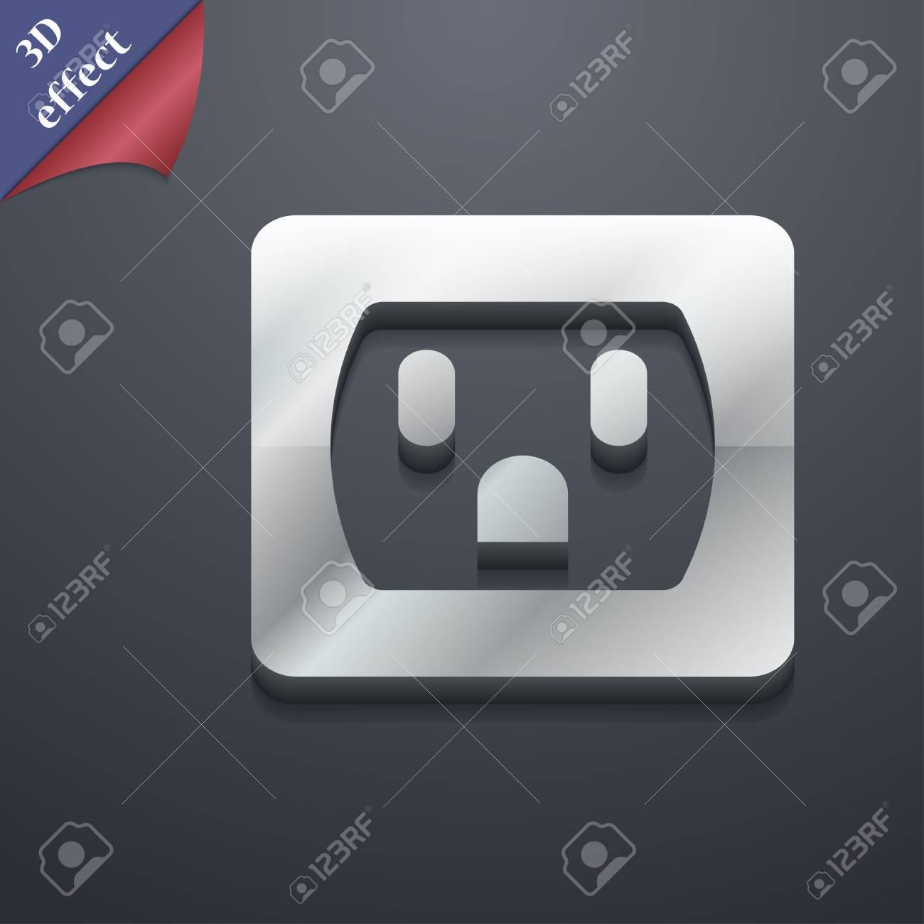 Electric Plug Power Energy Icon Symbol 3d Style Trendy Modern