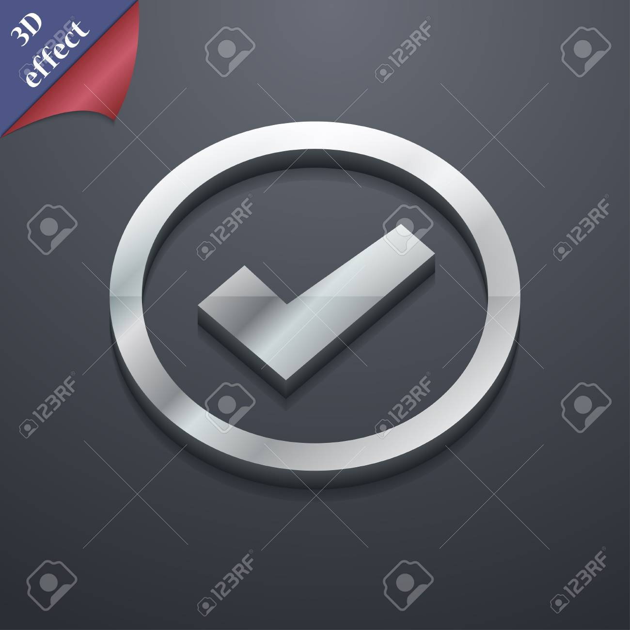 Check Mark Icon Symbol 3d Style Trendy Modern Design With Stock