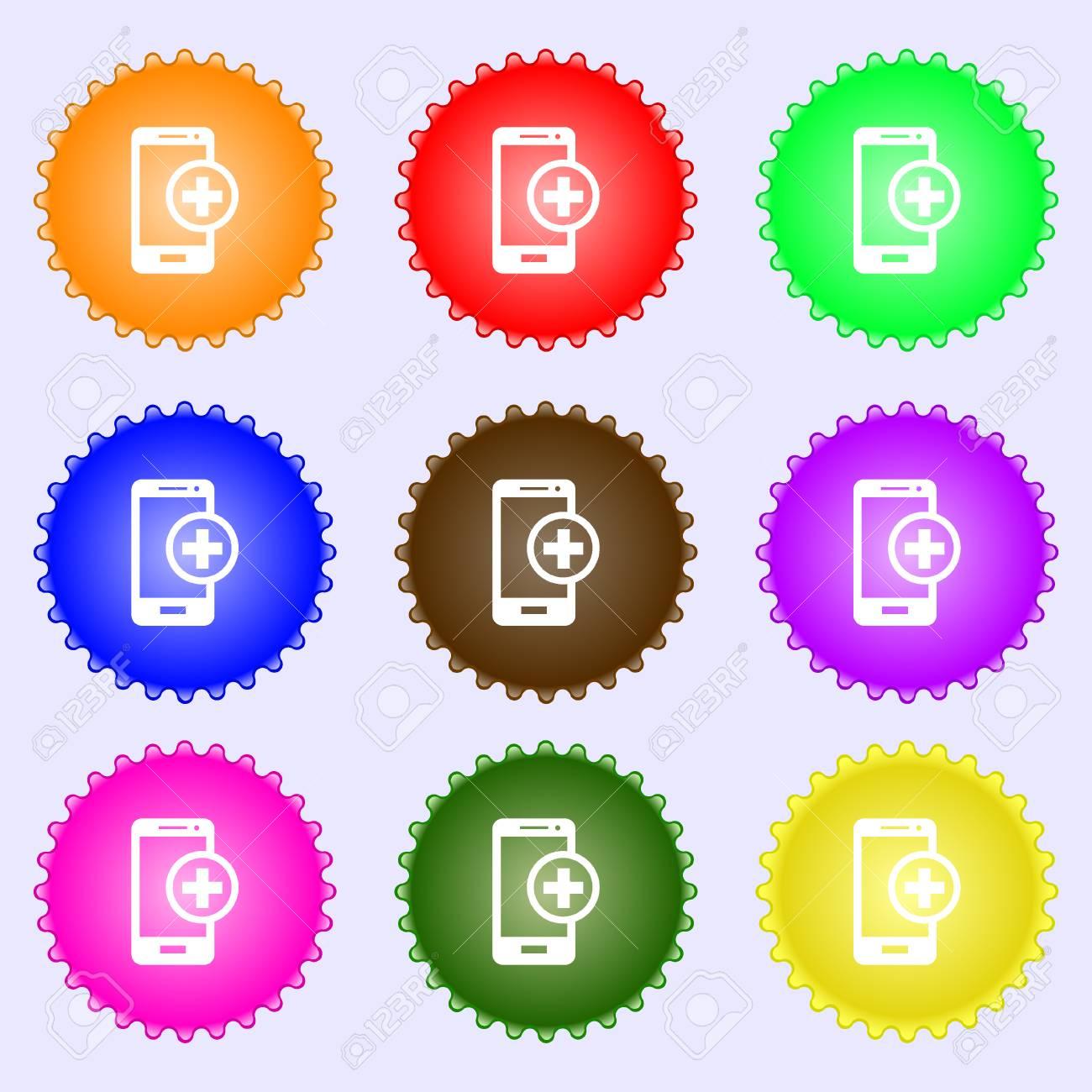 Un Insieme Di Mobili.Immagini Stock I Dispositivi Mobili Segno Icona Con Il Simbolo