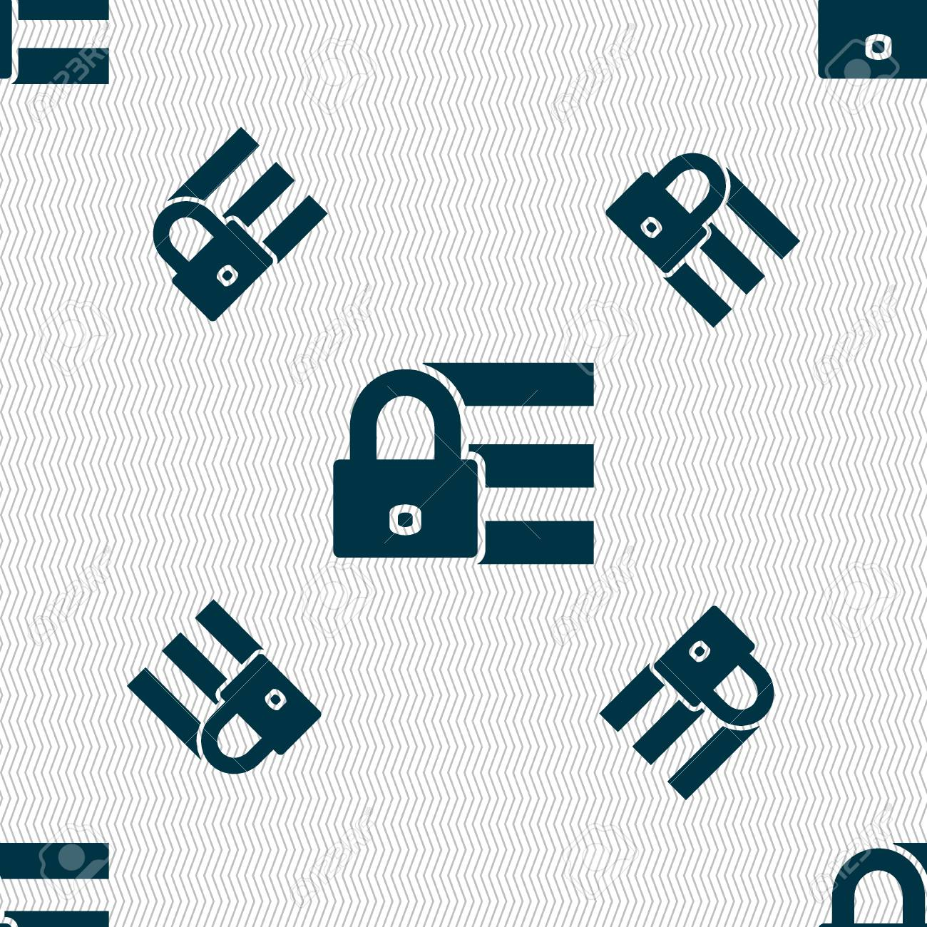lock login icon sign seamless pattern with geometric texture