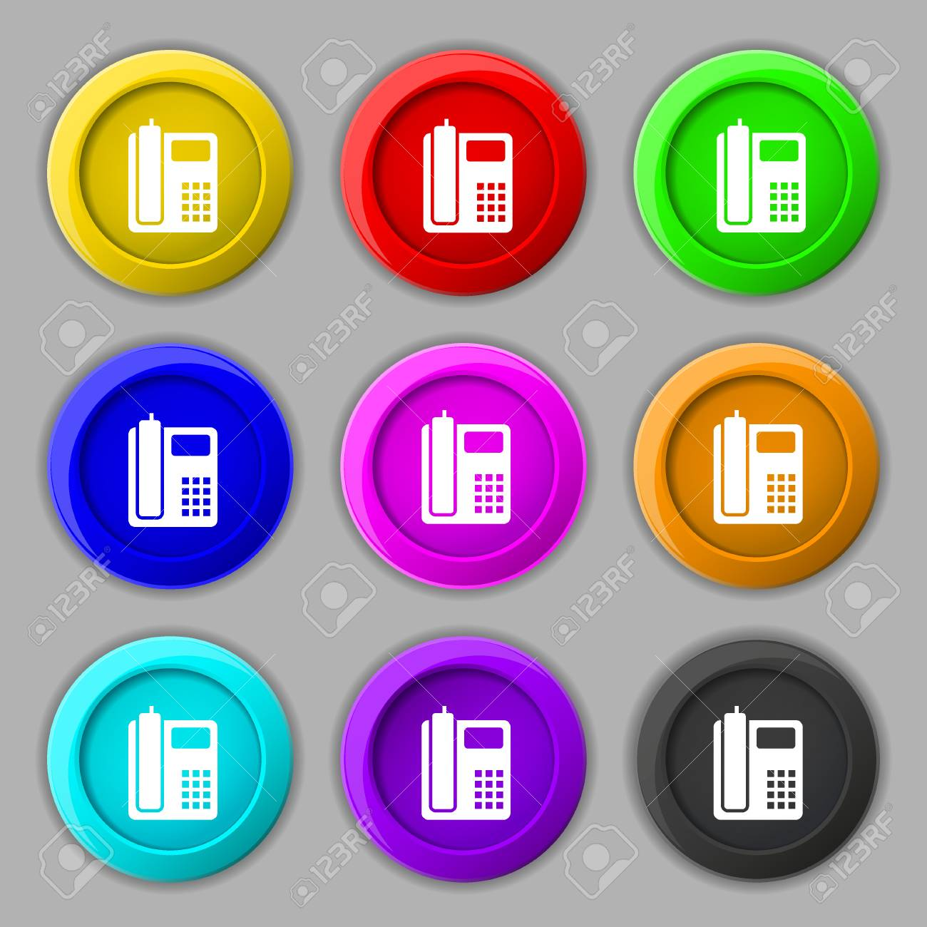 Home Phone Icon Sign Symbol On Nine Round Colourful Buttons