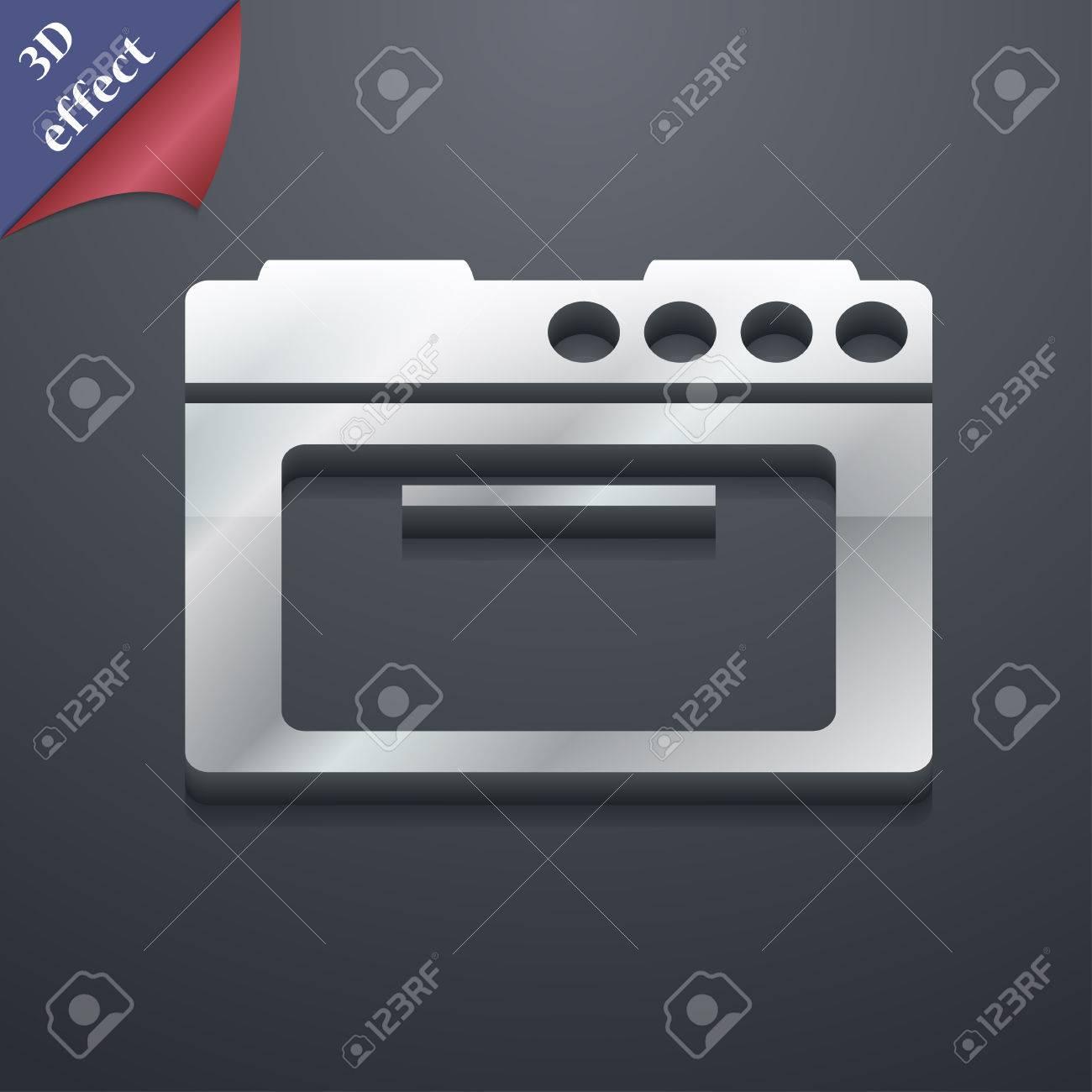 Estufa De La Cocina Icono De Símbolo. Plantillas En 3D. Diseño De ...