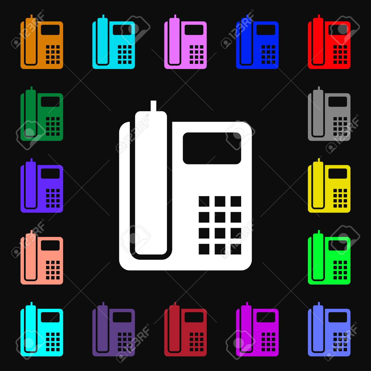 Home Phone Icon Sign Lots Of Colorful Symbols For Your Design