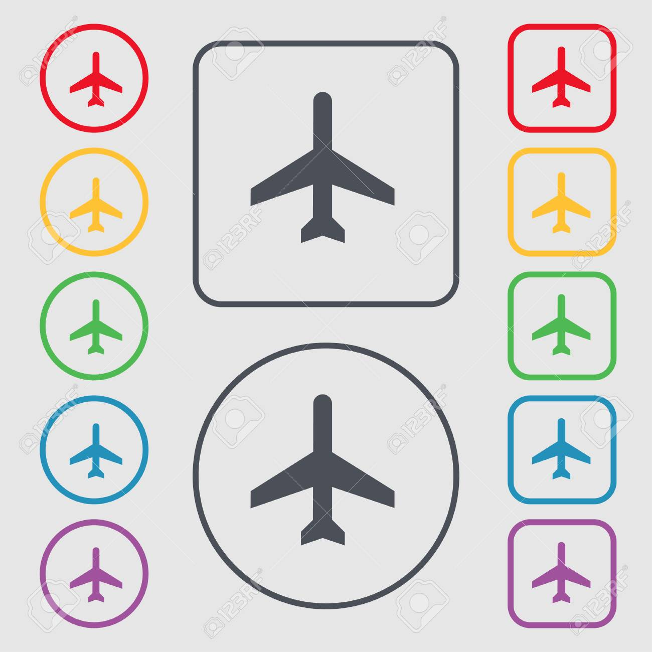 Plane Icon Sign. Symbol On The Round And Square Buttons With ...