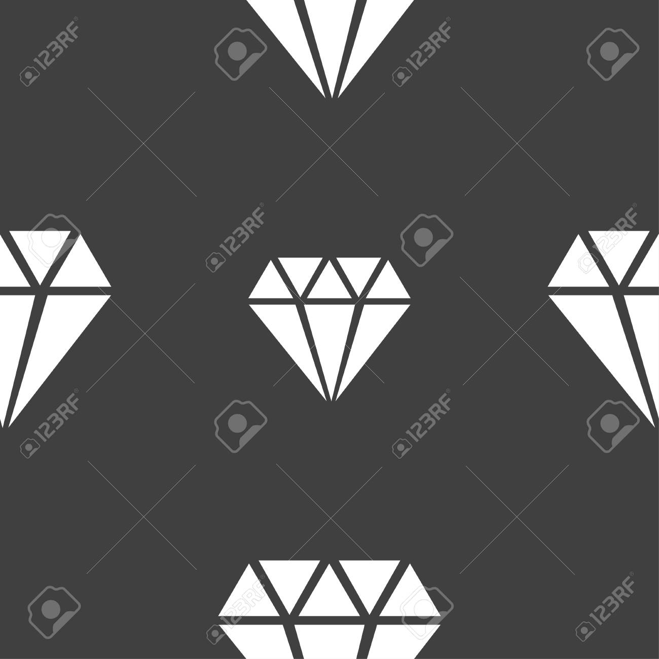 diamond icon sign. Seamless pattern on a gray background. Vector illustration - 52082405