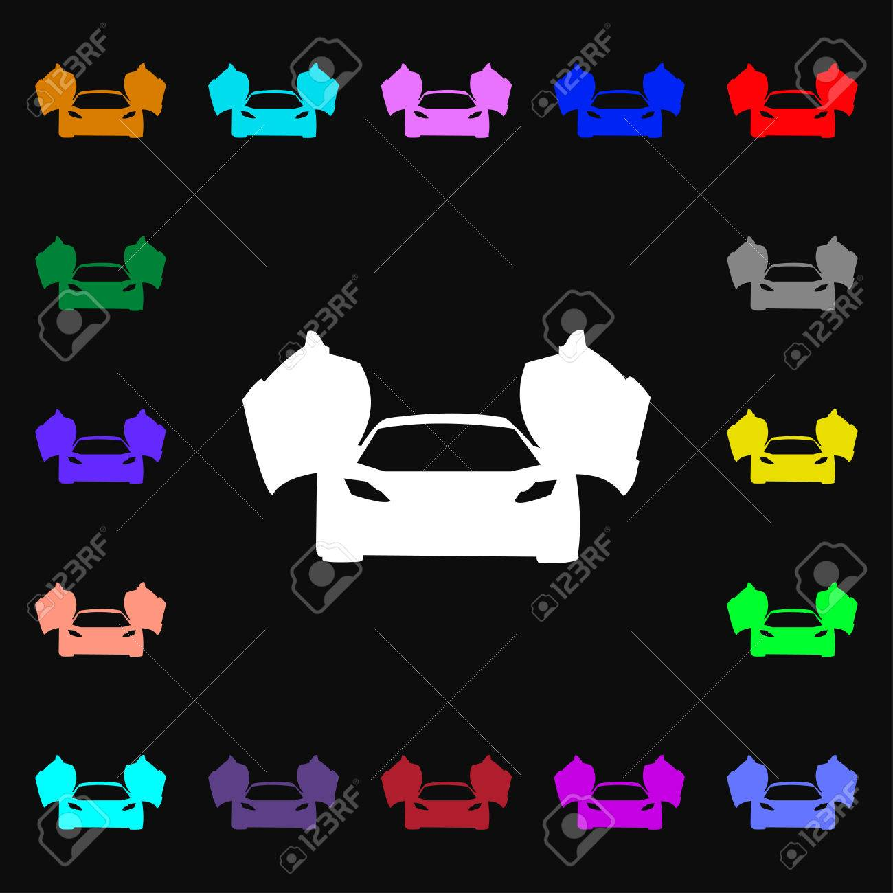 Sports Car Icon Sign Lots Of Colorful Symbols For Your Design