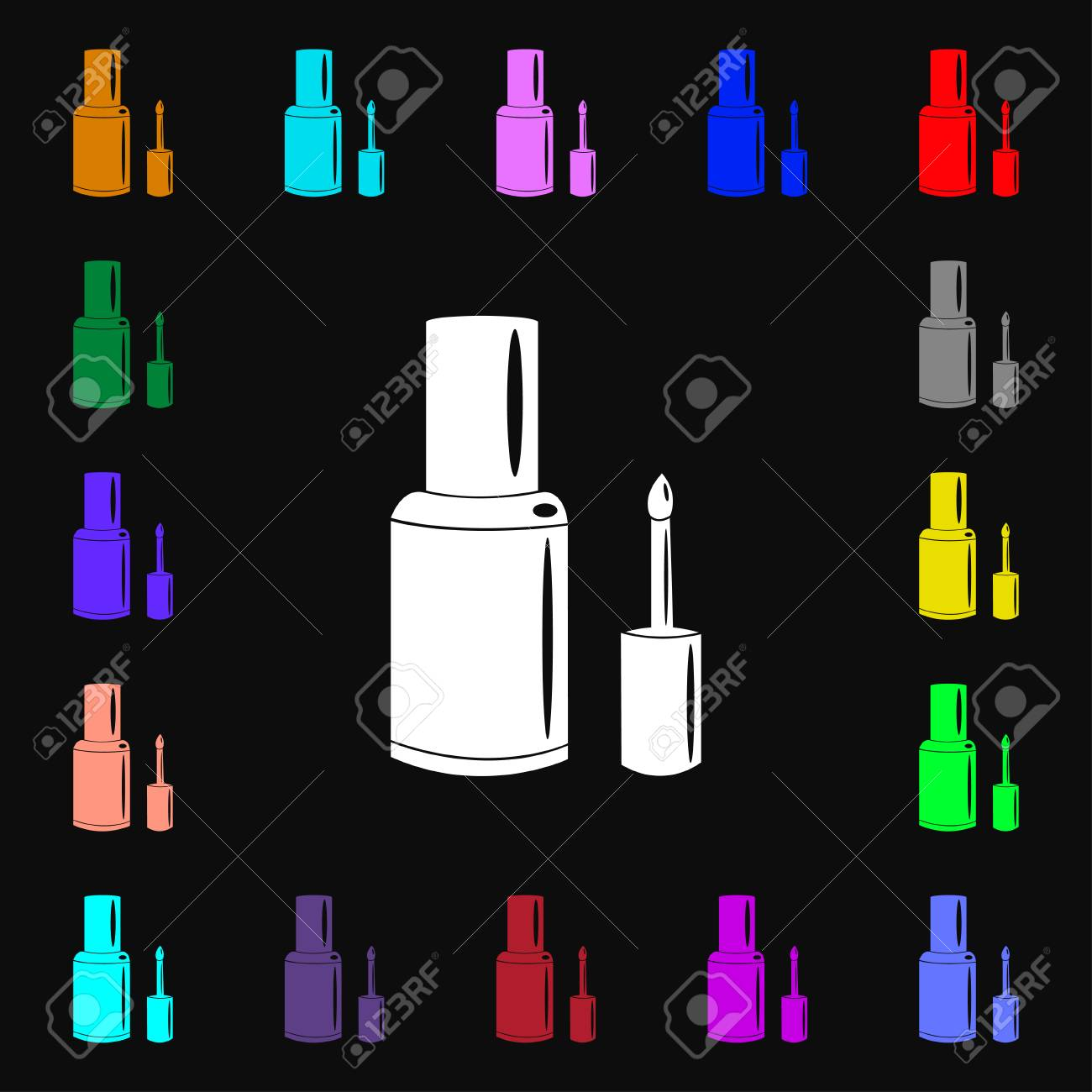 NAIL POLISH BOTTLE Icon Sign. Lots Of Colorful Symbols For Your ...