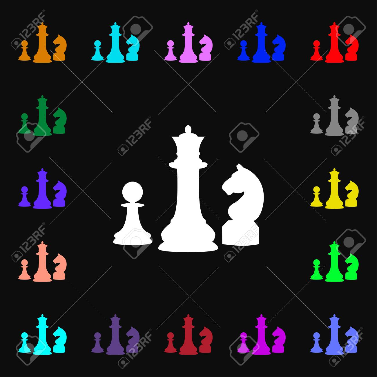 Chess Game Icon Sign Lots Of Colorful Symbols For Your Design