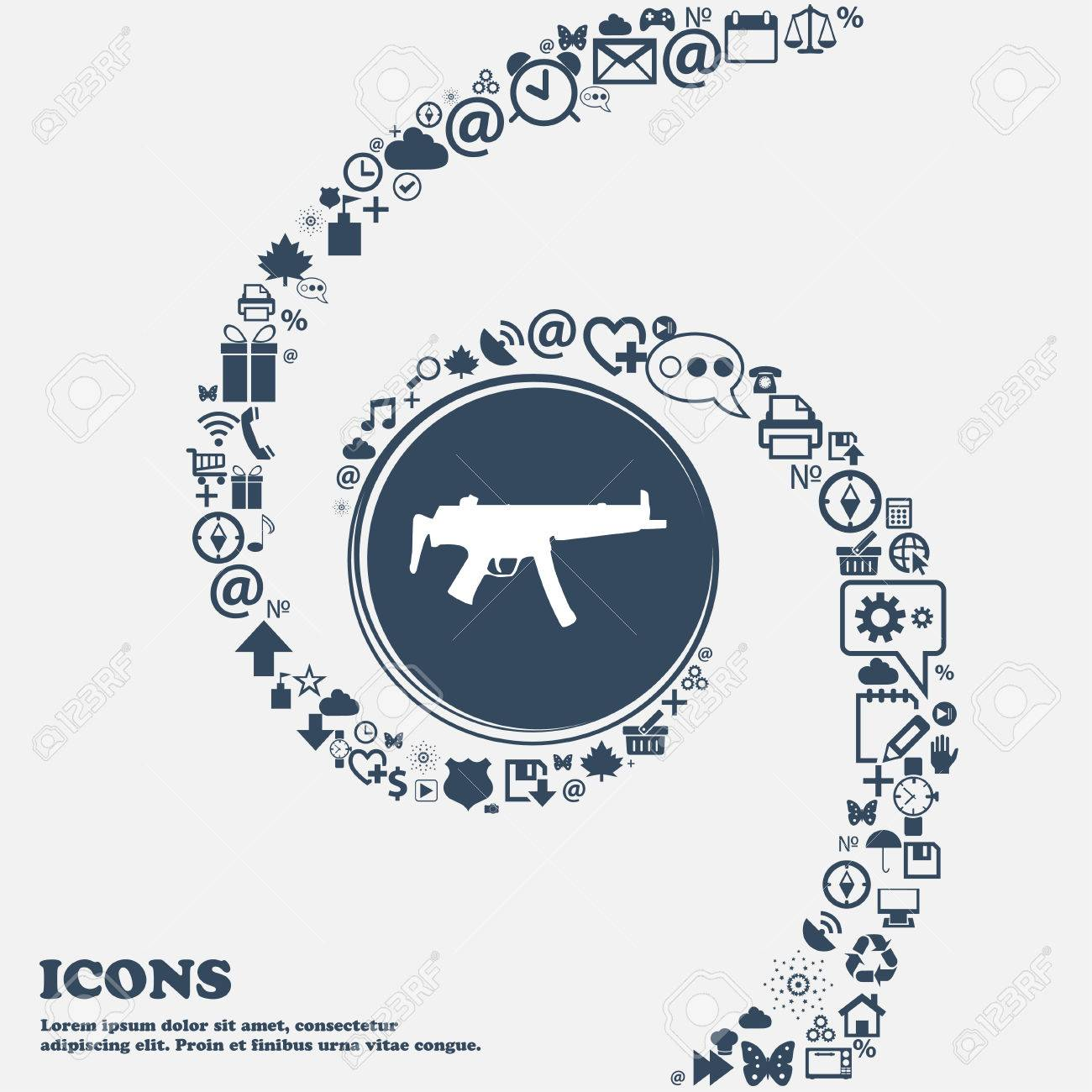 Machine gun icon sign in the center around the many beautiful machine gun icon sign in the center around the many beautiful symbols twisted in a biocorpaavc
