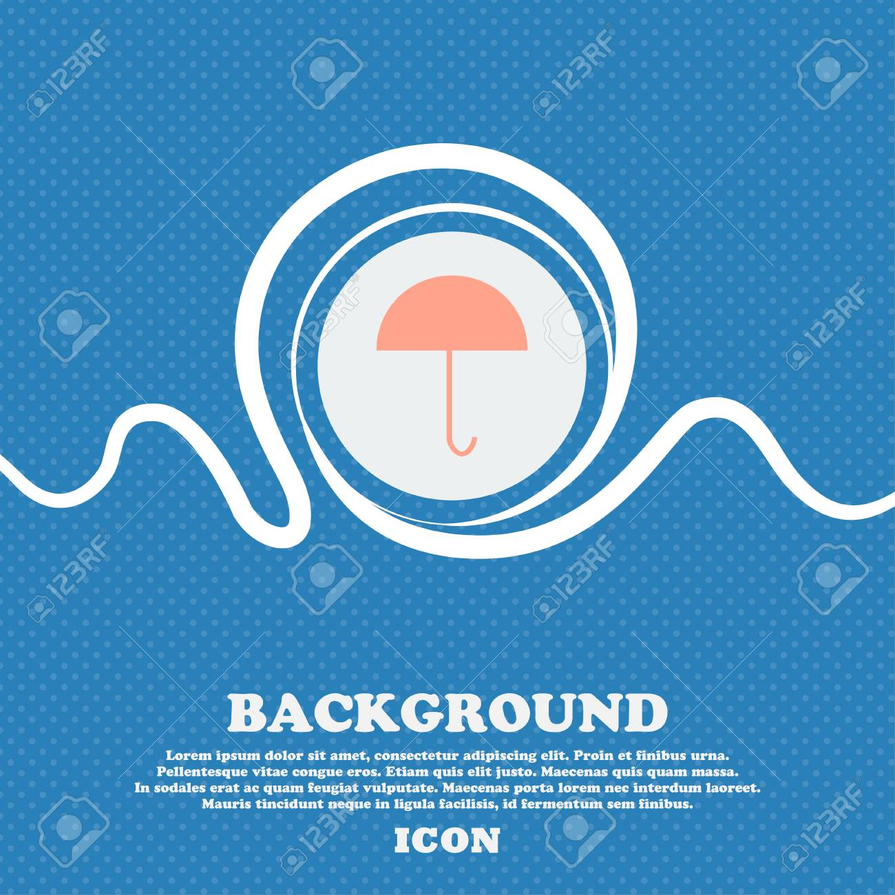 Umbrella Sign Icon Rain Protection Symbol Blue And White Abstract