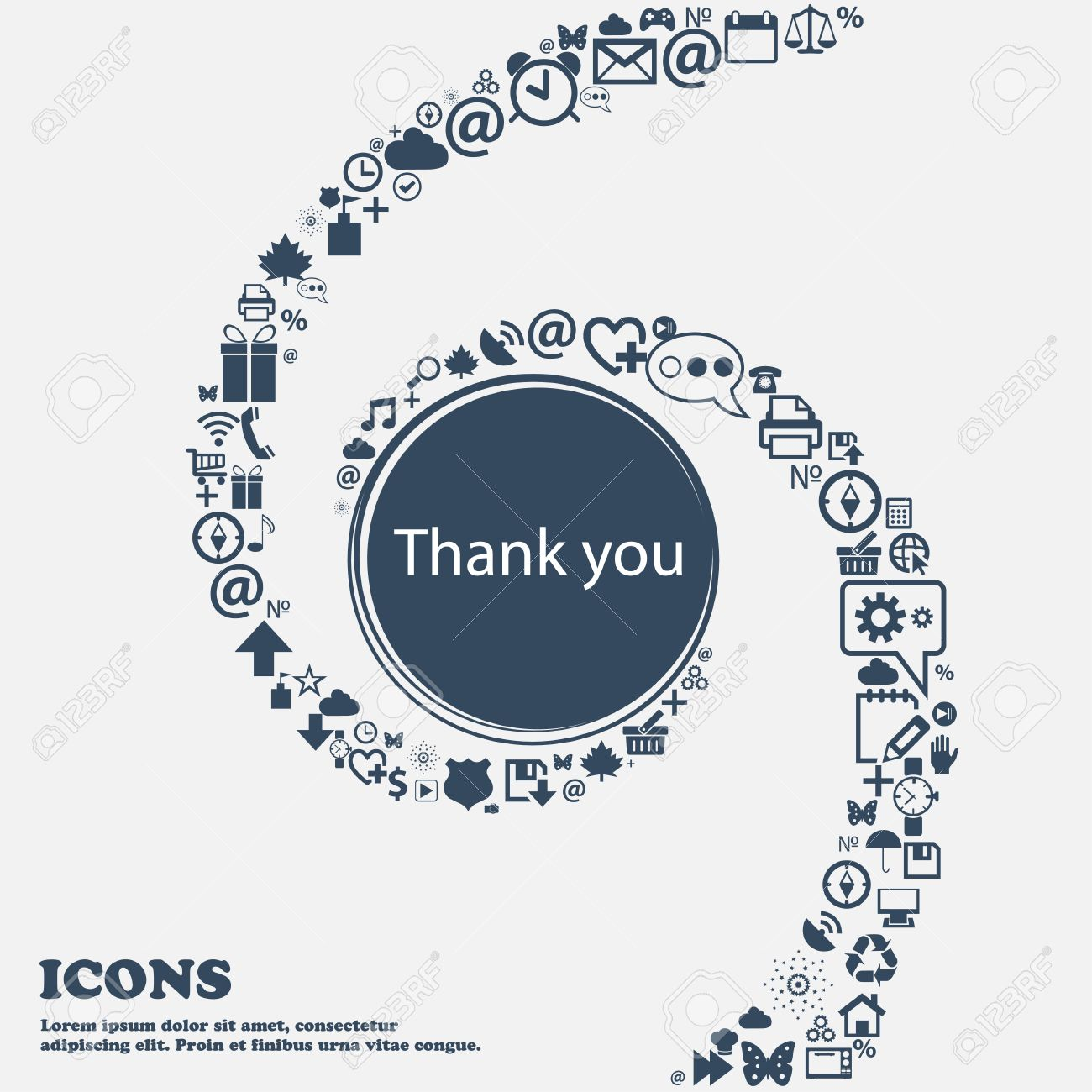 Thank you sign icon gratitude symbol in the center around the many gratitude symbol in the center around the many beautiful symbols biocorpaavc Images