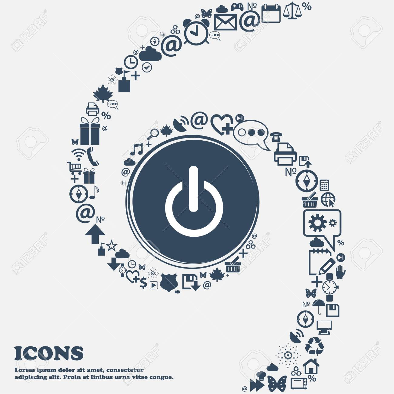 Power Sign Icon. Switch On Symbol In The Center. Around The Many ...