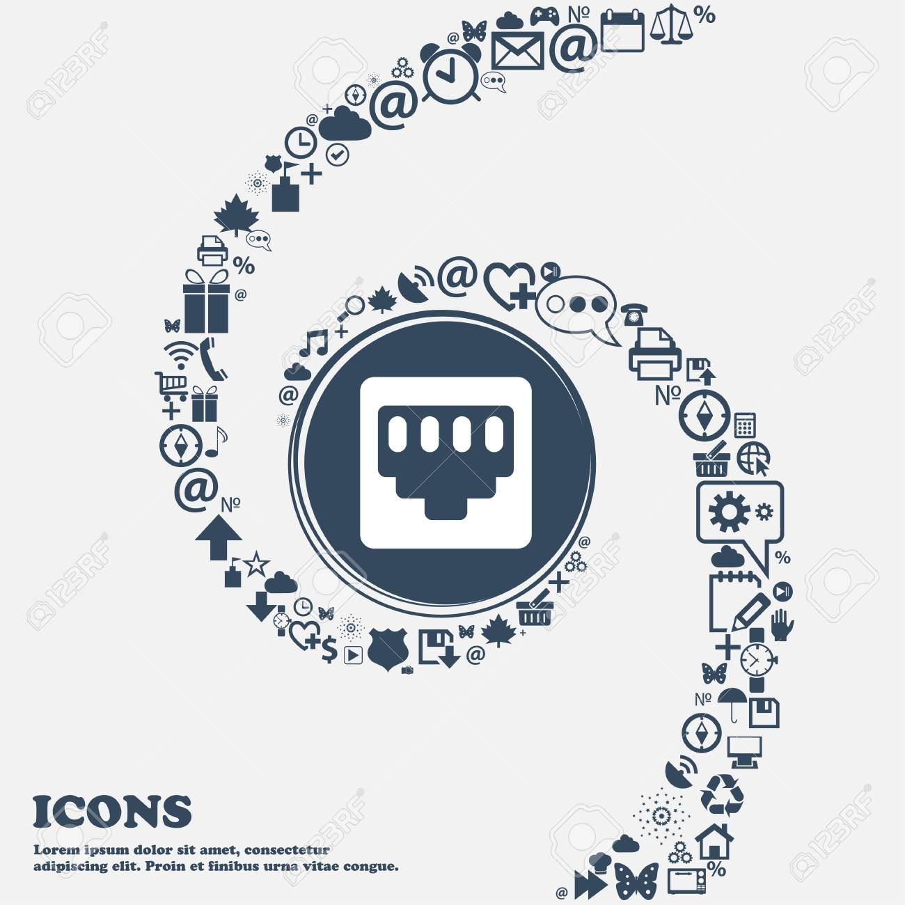 Cable Rj45 Patch Cord Icon Sign In The Center Around The Many