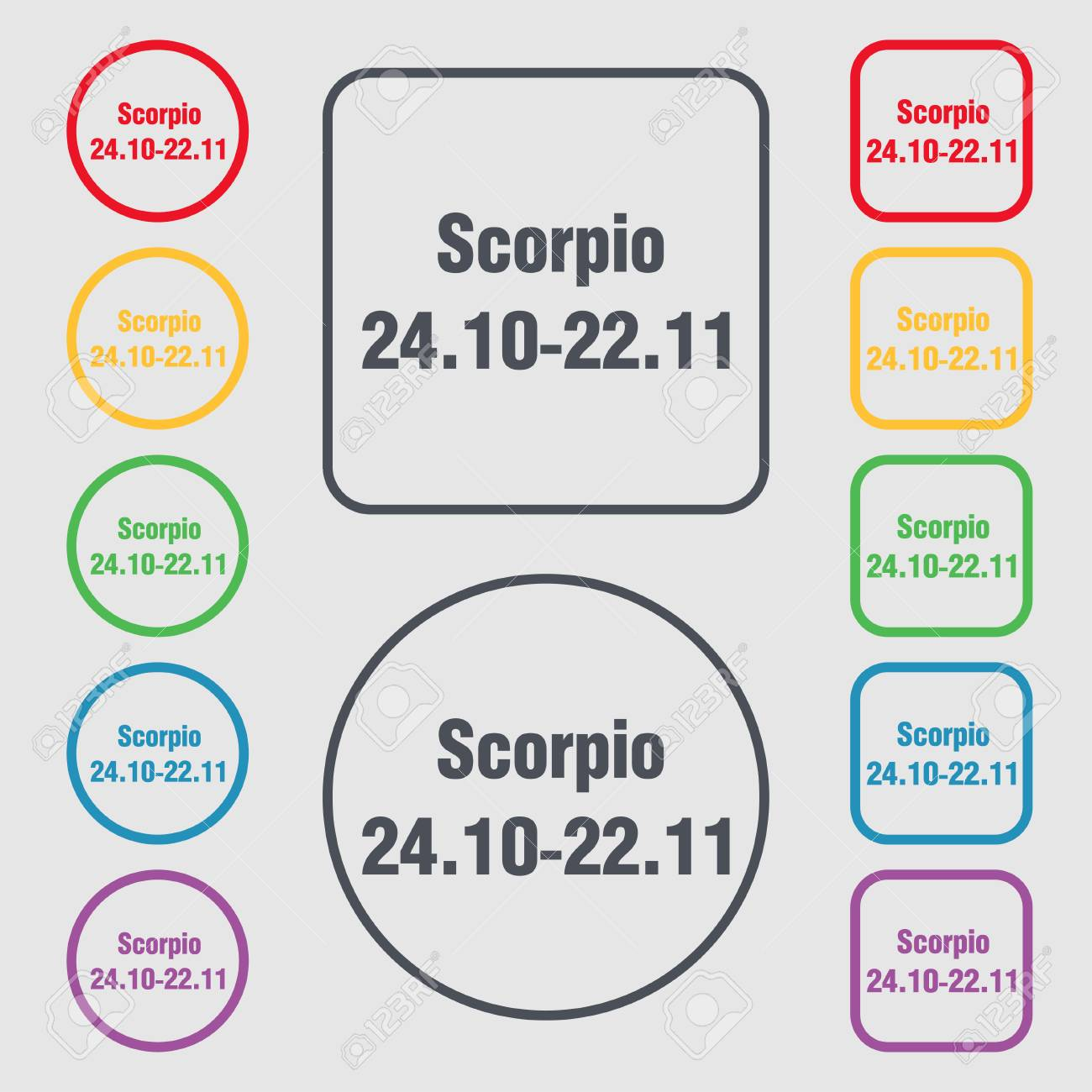 Scorpio Icon Sign Symbol On The Round And Square Buttons With