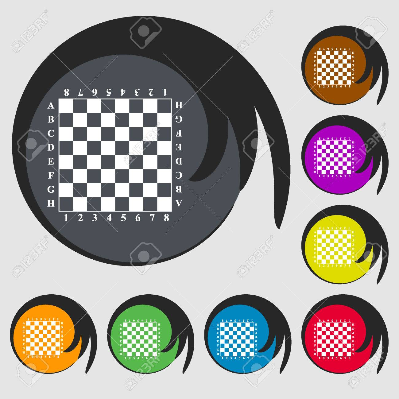 Modern Chess Board Sign Icon Symbols On Eight Colored Buttons