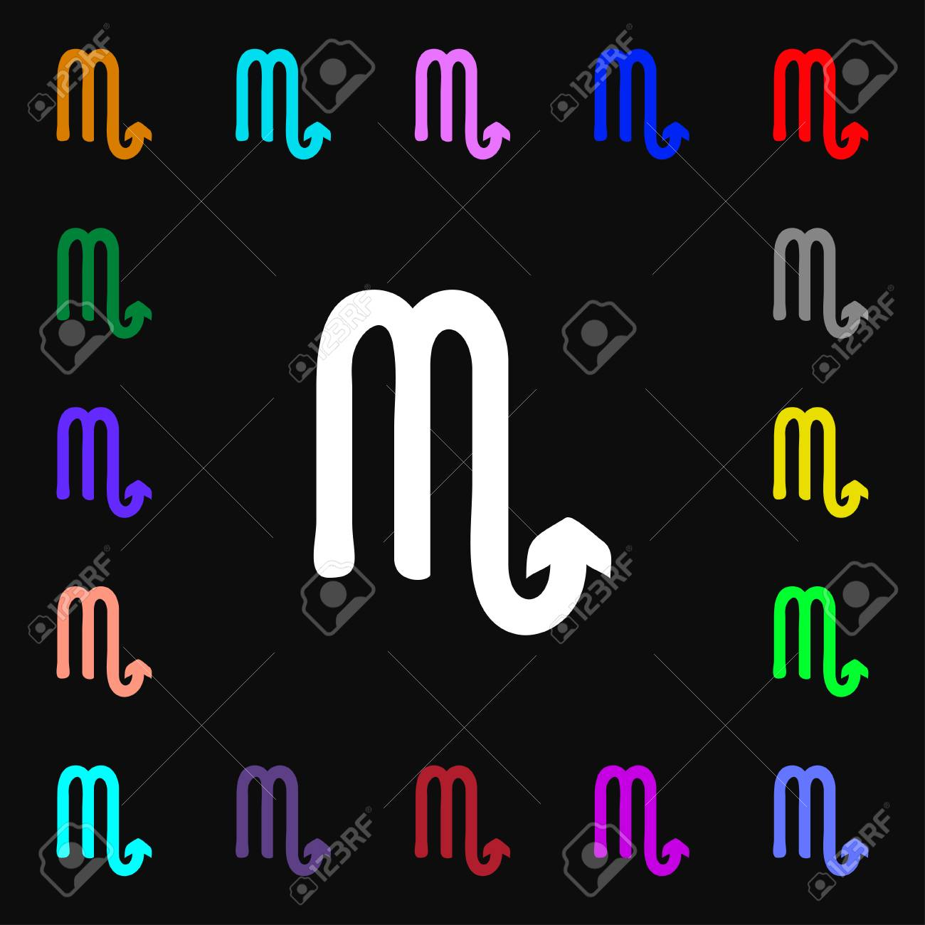 Scorpio Icon Sign Lots Of Colorful Symbols For Your Design Stock