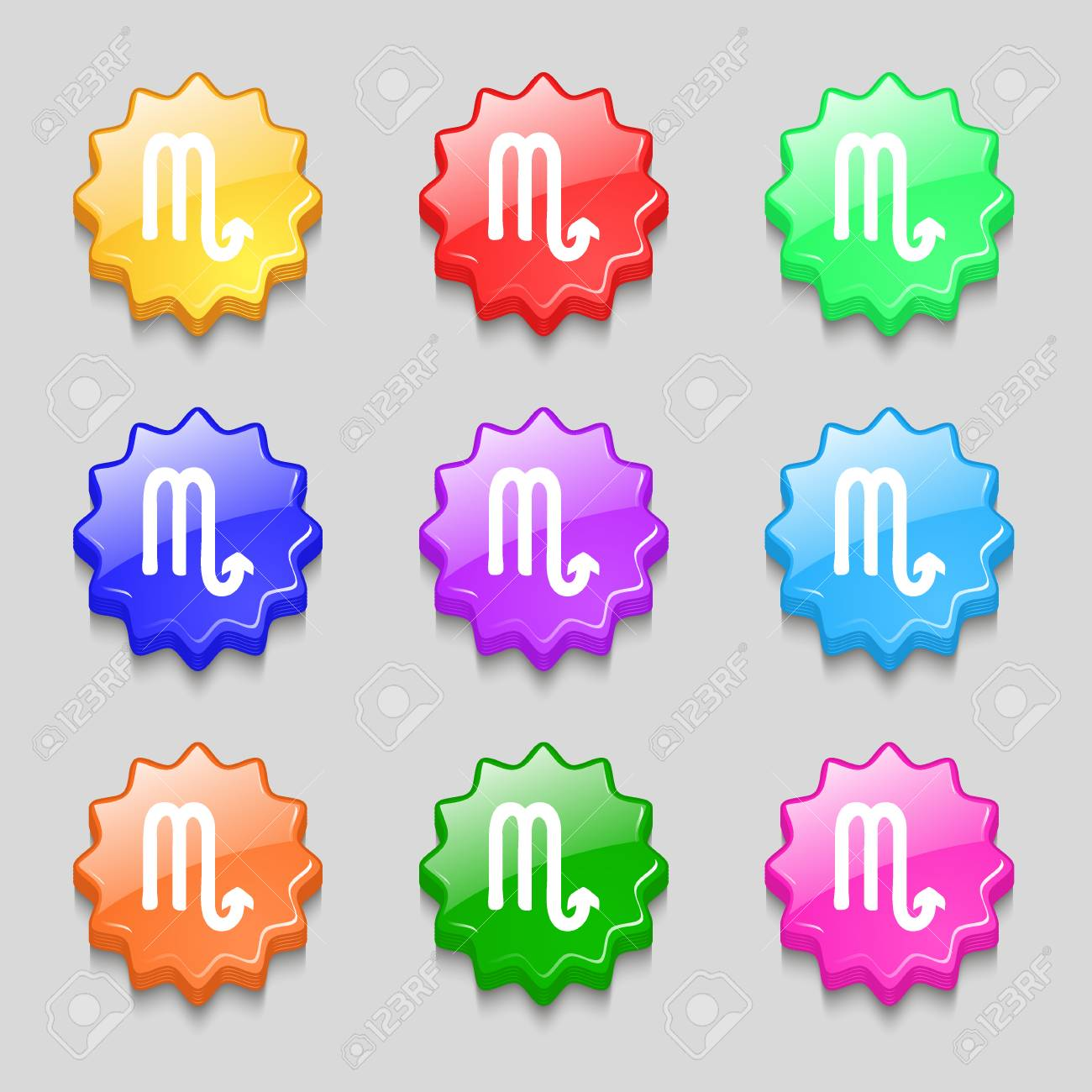 Scorpio icon sign symbol on nine wavy colourful buttons scorpio icon sign symbol on nine wavy colourful buttons illustration banque dimages buycottarizona Image collections