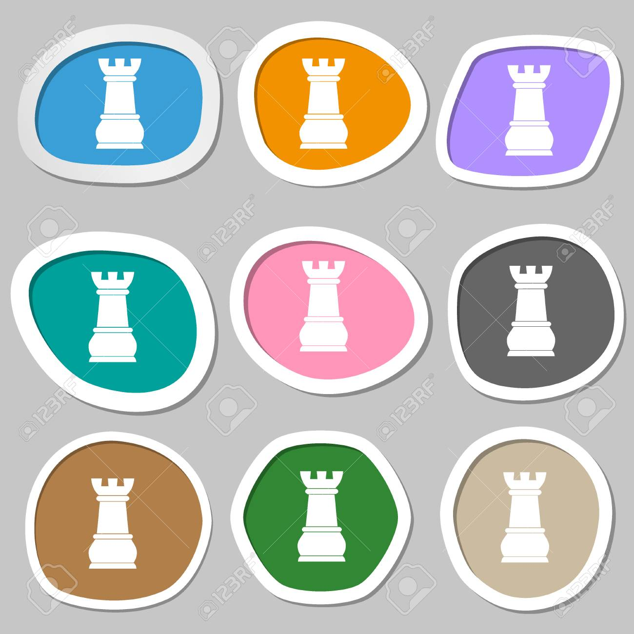 Chess Rook Symbols Multicolored Paper Stickers Illustration