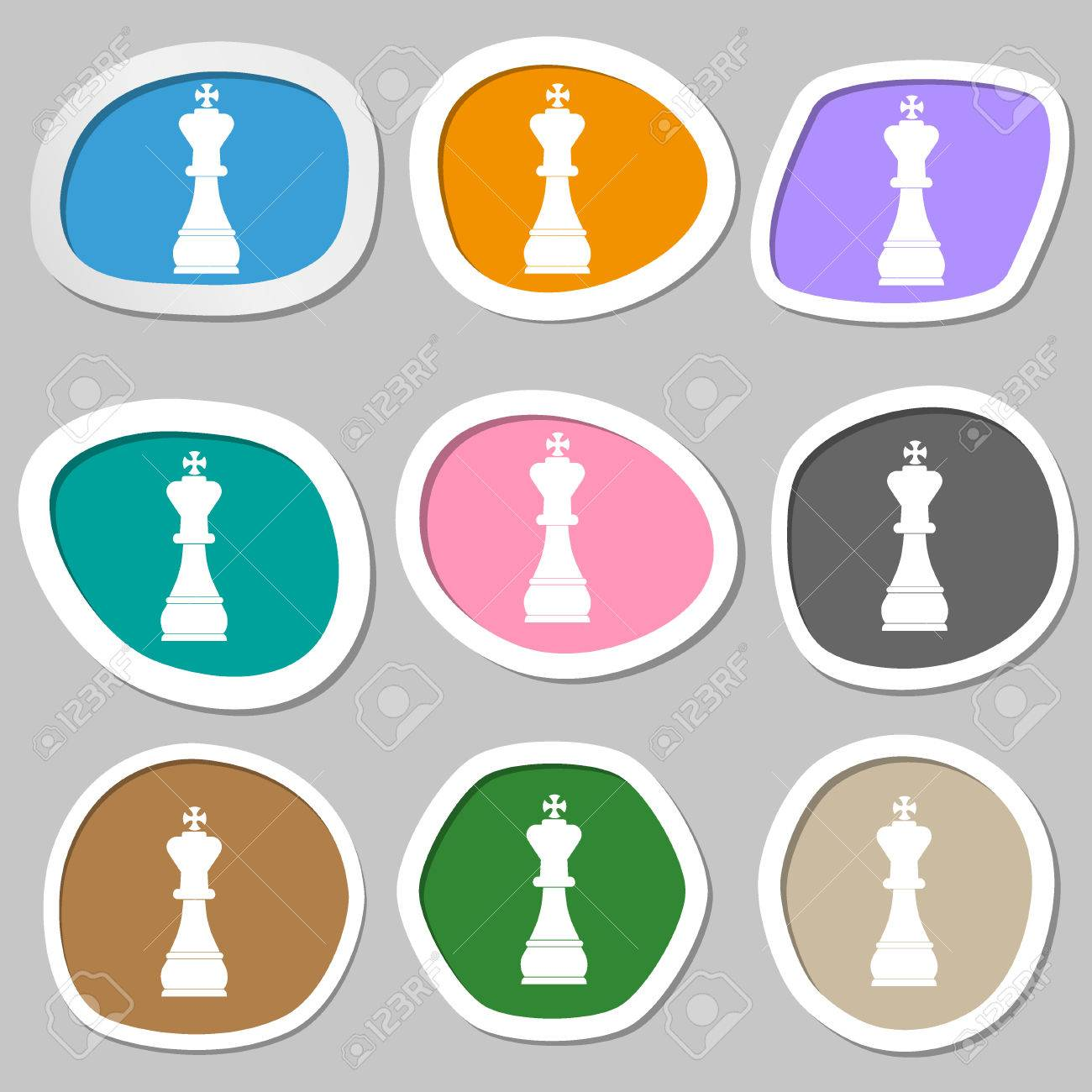 Chess King Symbols Multicolored Paper Stickers Illustration Stock