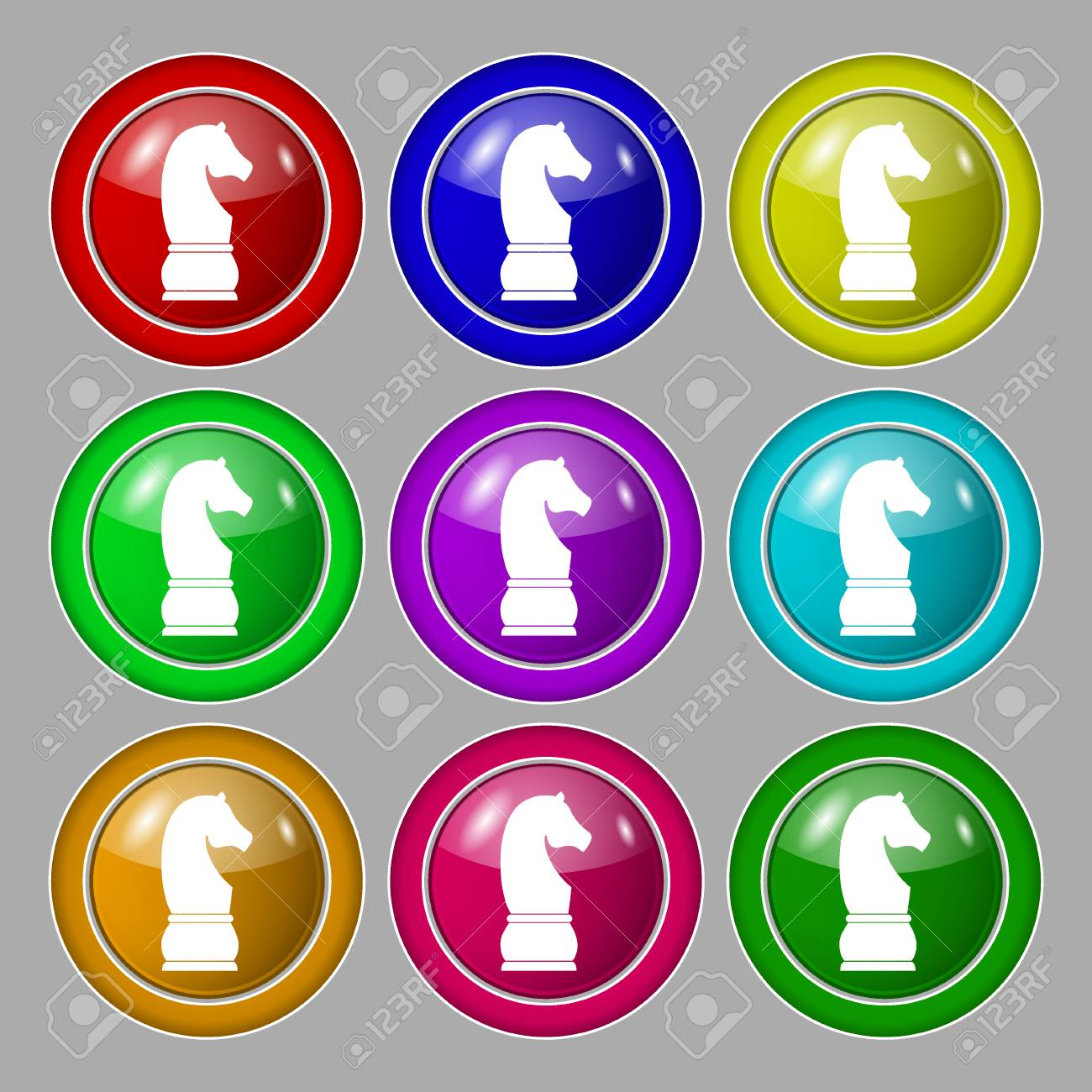 Chess Knight Icon Sign Symbol On Nine Round Colourful Buttons