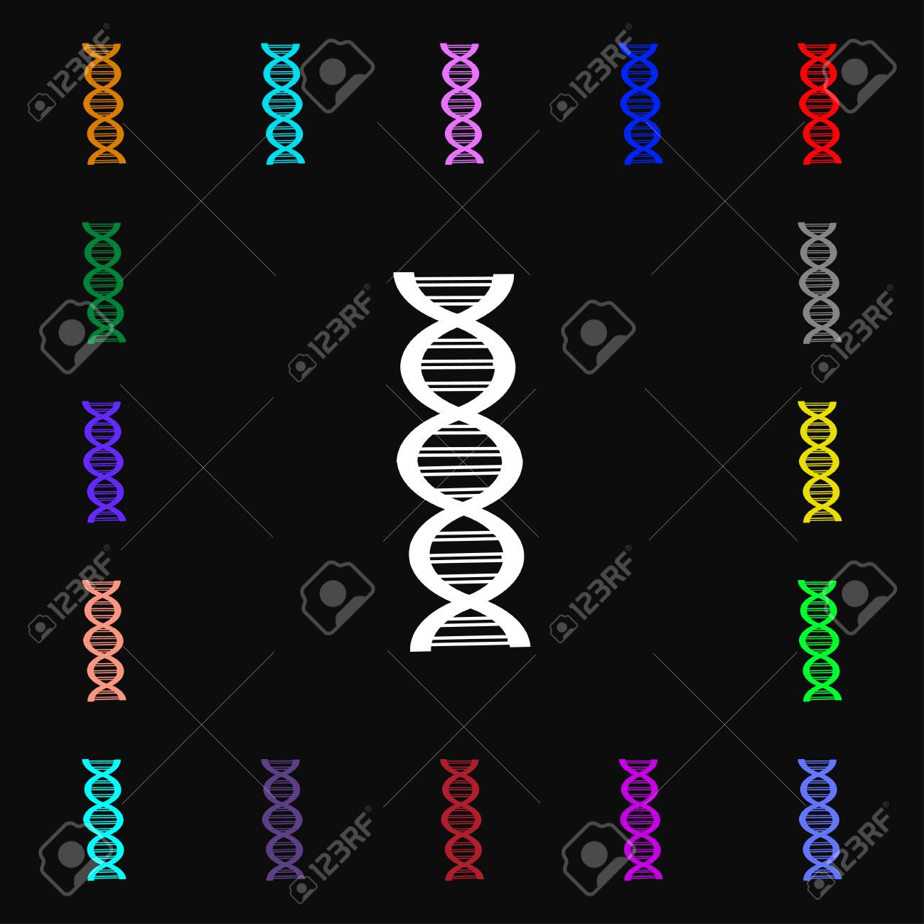 Dna Icon Sign Lots Of Colorful Symbols For Your Design