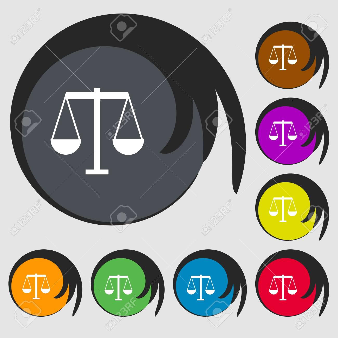 Scales Of Justice Icon Sign Symbols On Eight Colored Buttons