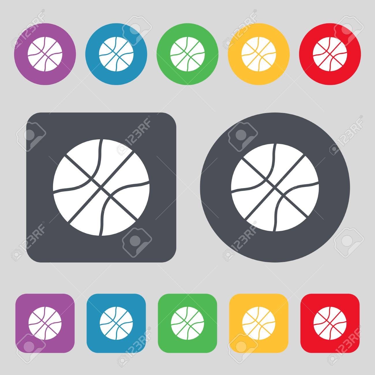 Basketball icon sign. A set of 12 colored buttons. Flat design. Vector illustration - 62063867