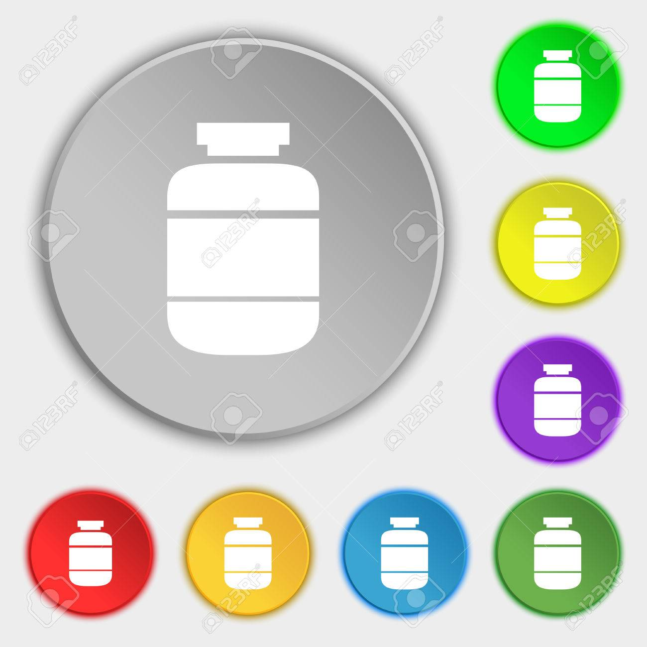 medication icon sign symbol on eight flat buttons vector
