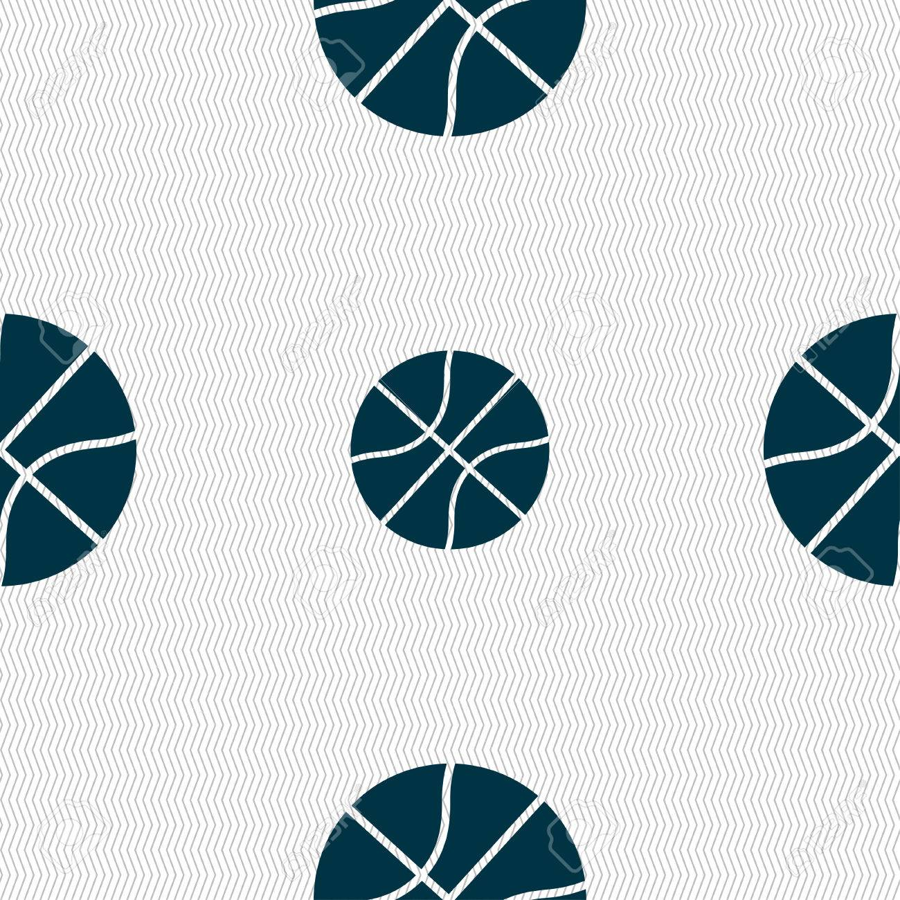 Basketball icon sign. Seamless pattern with geometric texture. Vector illustration - 65001688