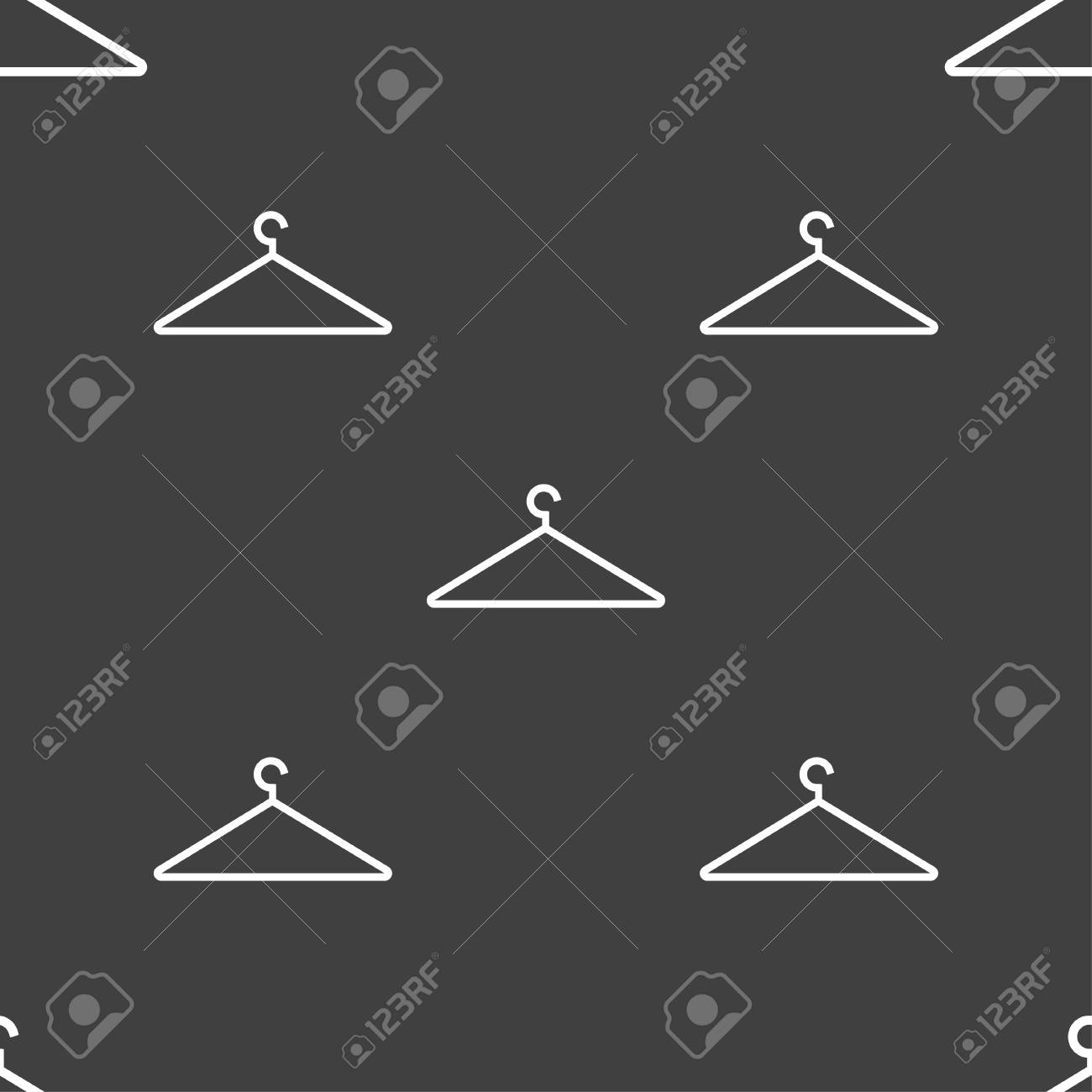 Clothes Hanger Icon Sign Seamless Pattern On A Gray Background