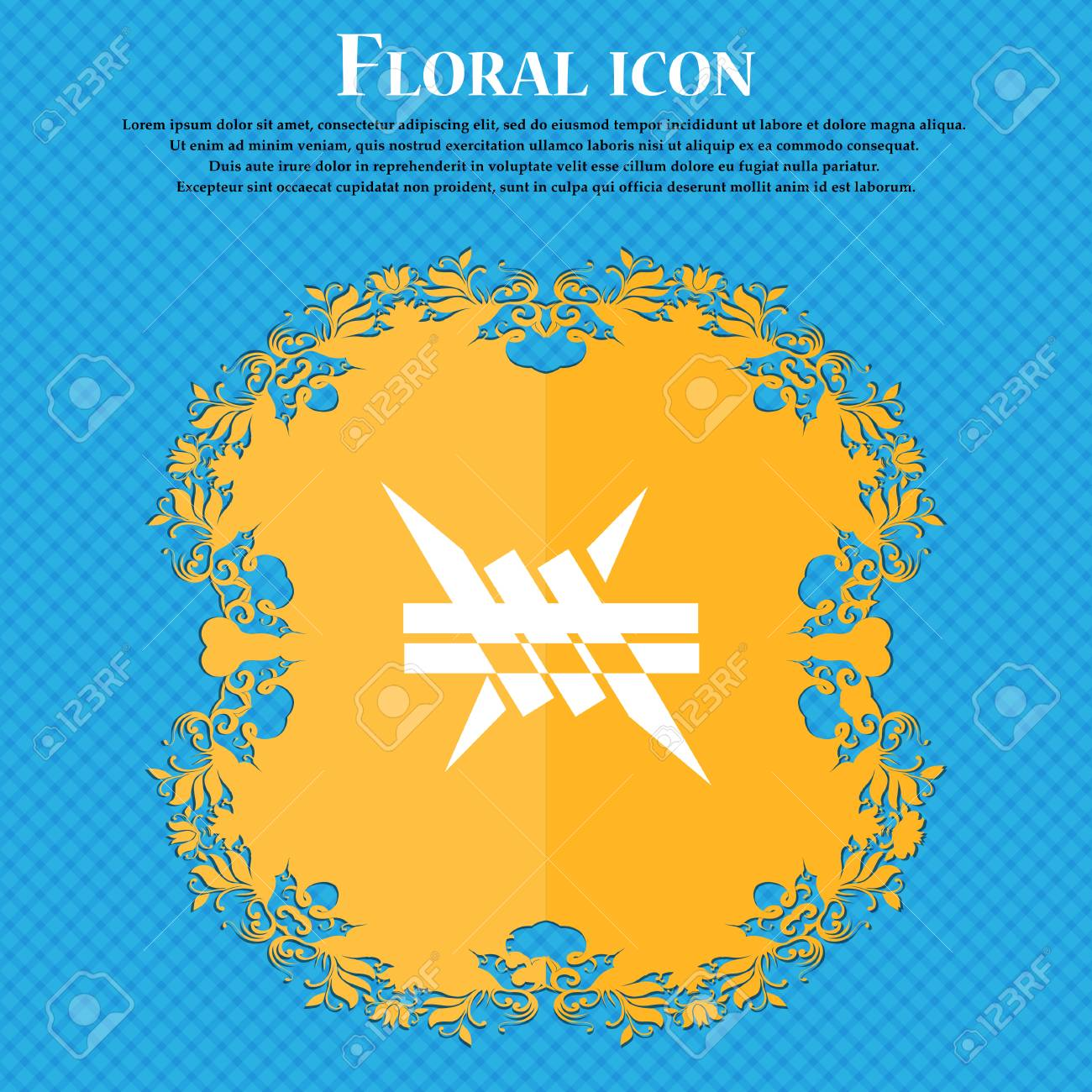 Barbed Wire Icon. Icon. Floral Flat Design On A Blue Abstract ...