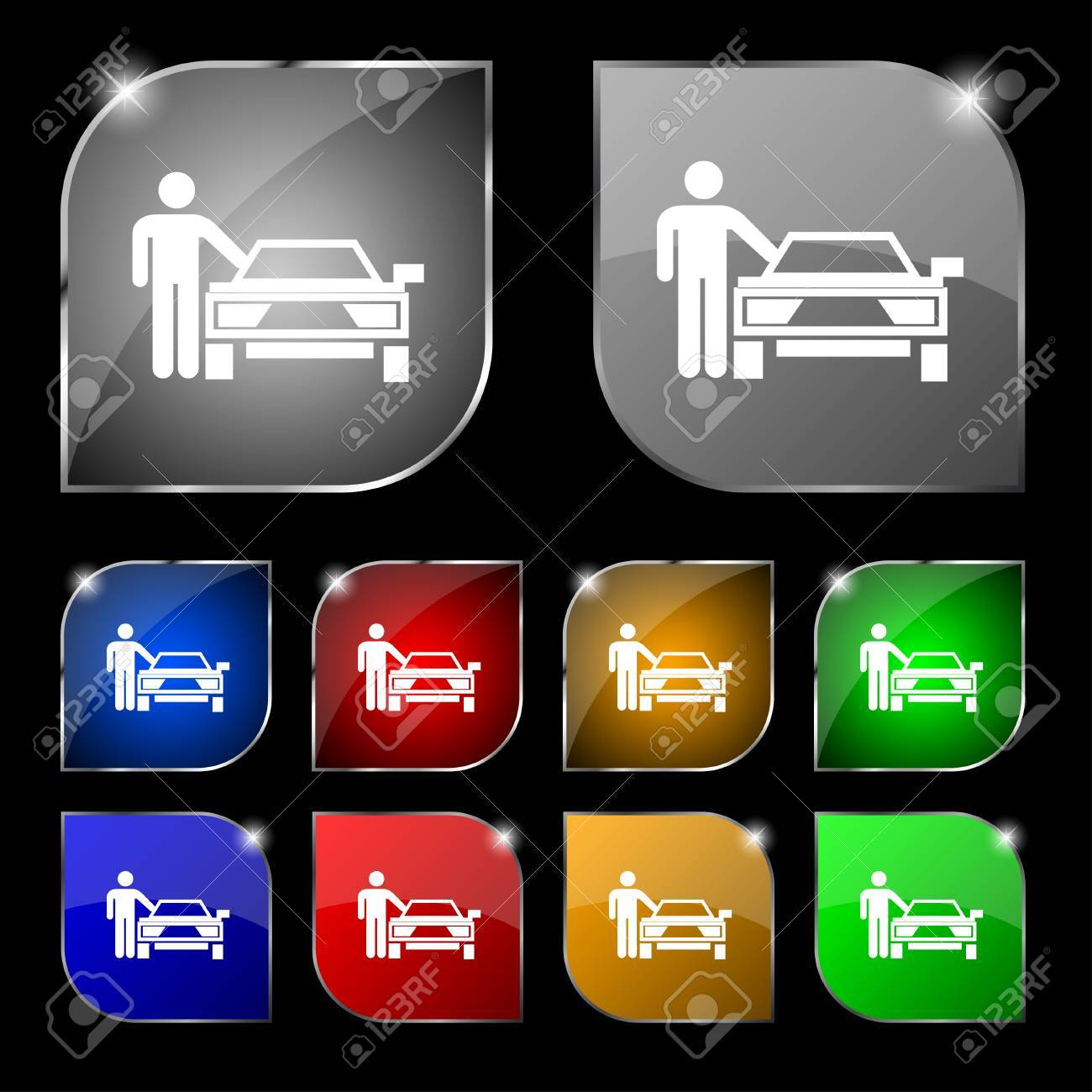 Person Up Hailing A Taxi Icon Sign Set Of Ten Colorful Buttons