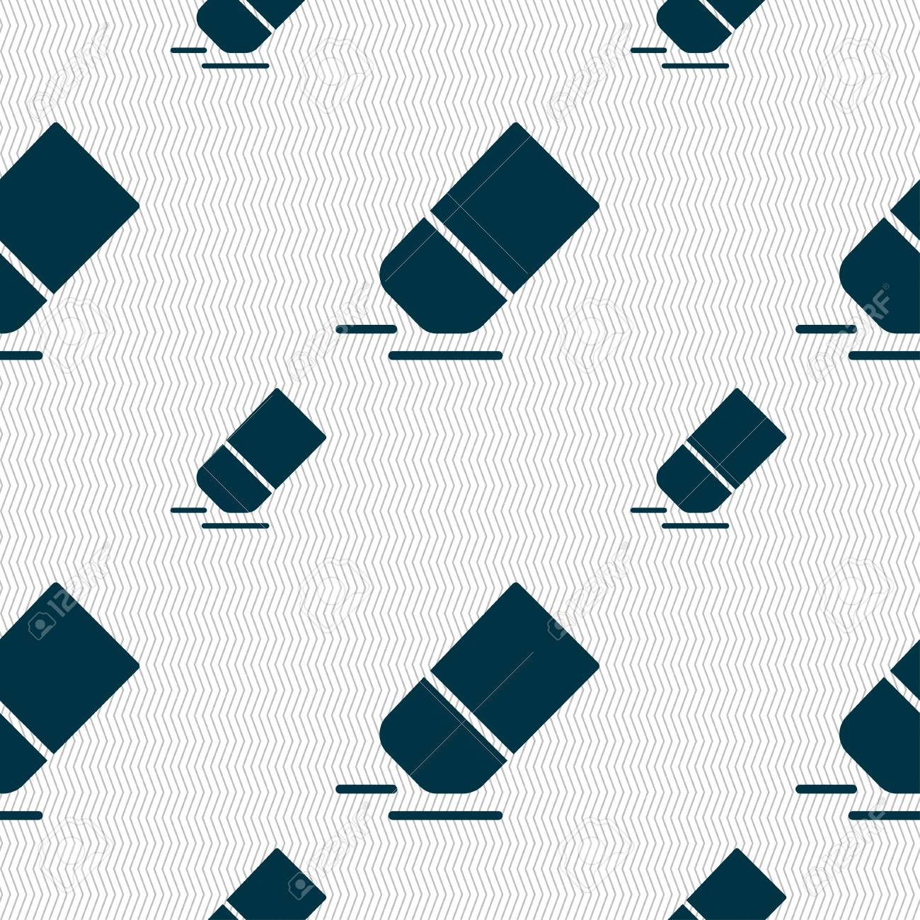 eraser rubber icon sign seamless pattern with geometric texture