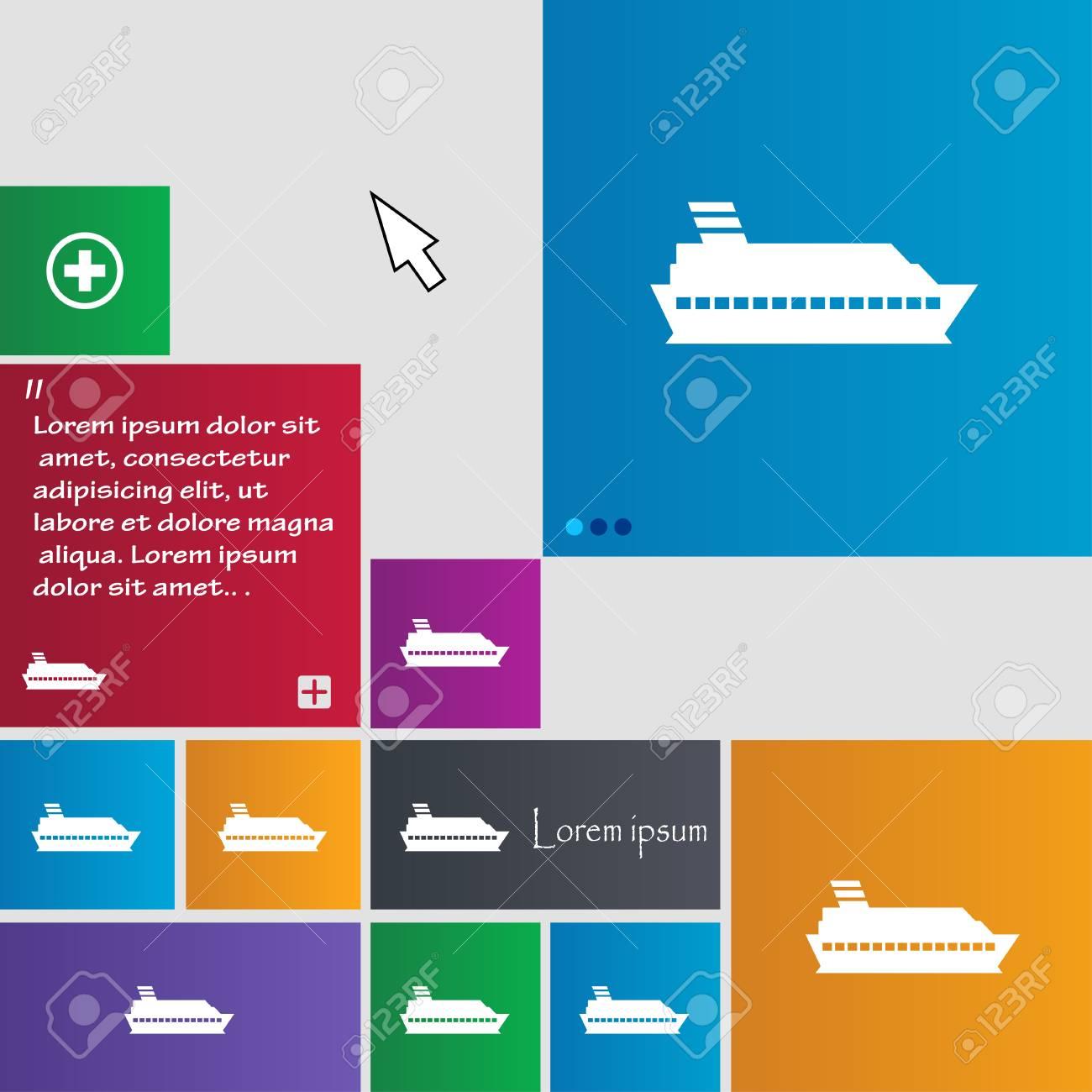 Cruise sea ship icon sign  buttons  Modern interface website