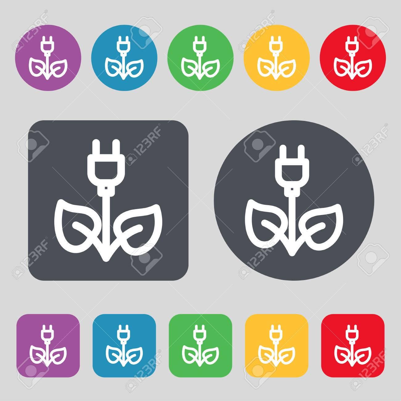 Grüne Energie Elektrizität Symbol Zeichen. Ein Satz Von 12 Farbigen ...