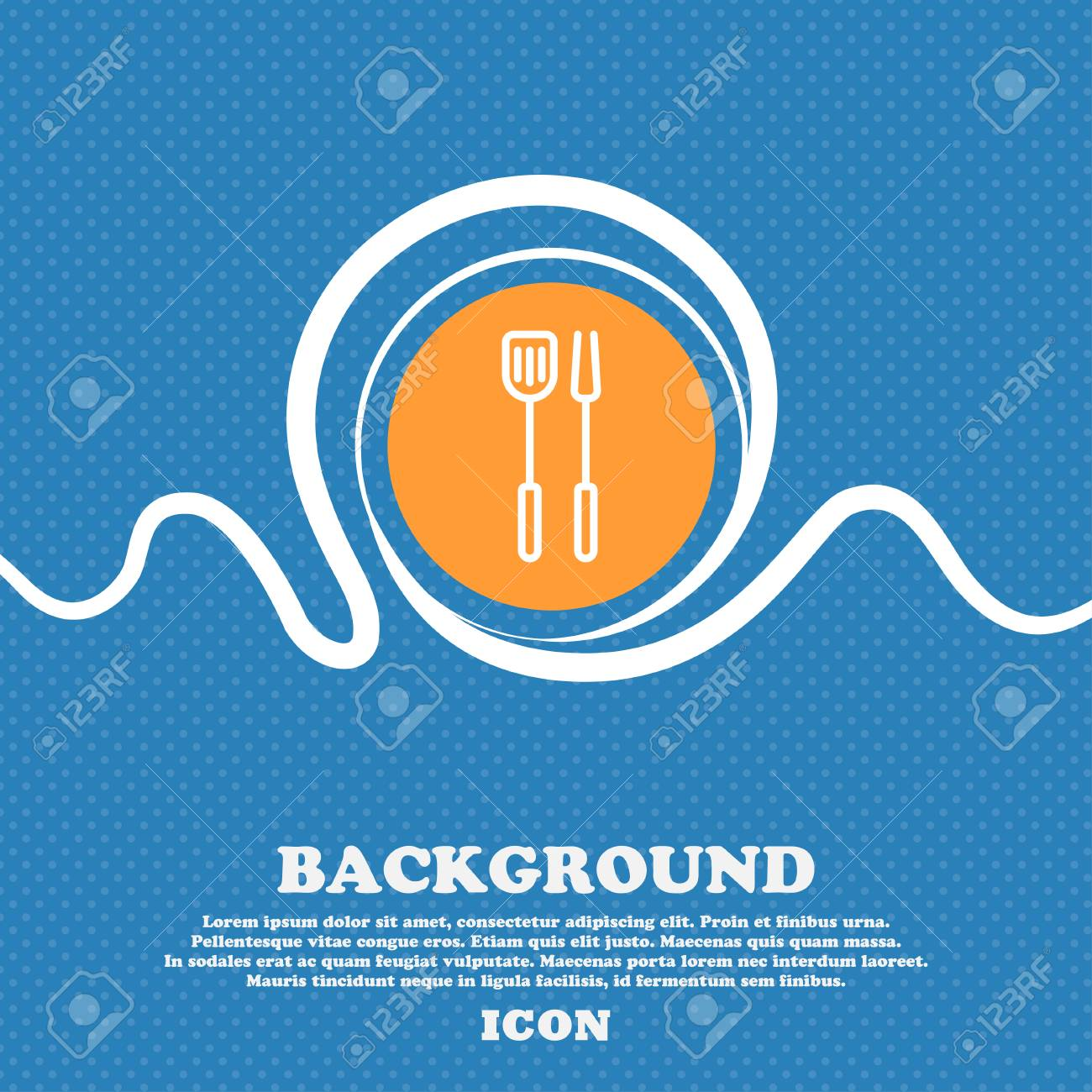 Kitchen Utensils Set Icon Sign. Blue And White Abstract Background ...