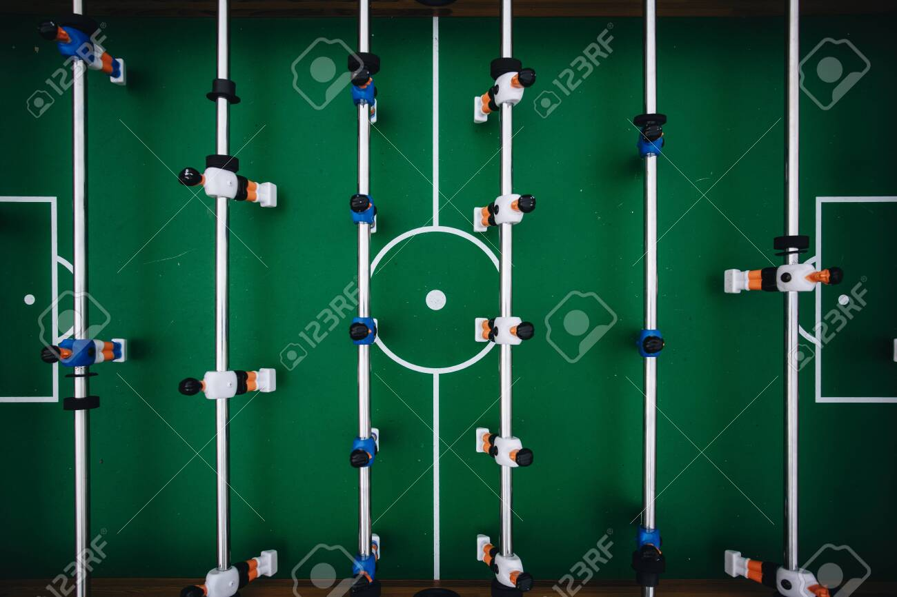 Foosball Table Soccer Sport Teame Football Players Top View Stock