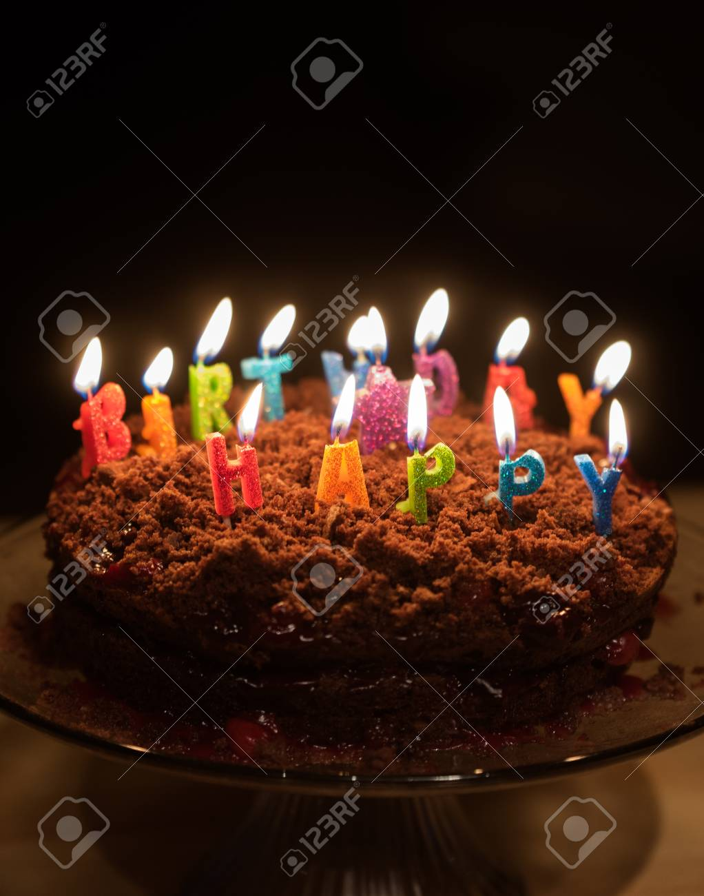 Tremendous Chocolate Birthday Cake With Candles On It Stock Photo Picture Personalised Birthday Cards Veneteletsinfo