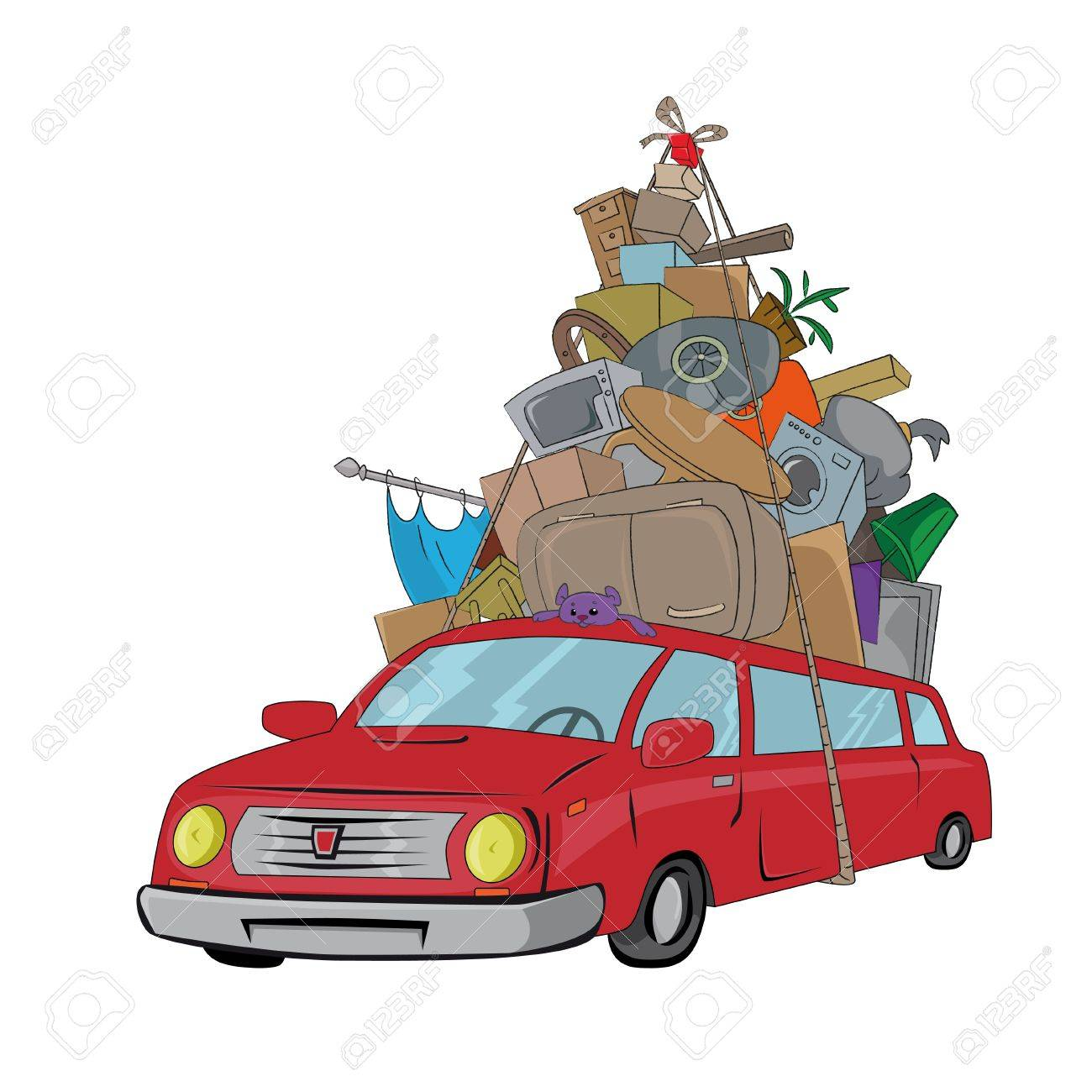 Moving Furniture Clipart Vehicle Transporting The Stock Vector