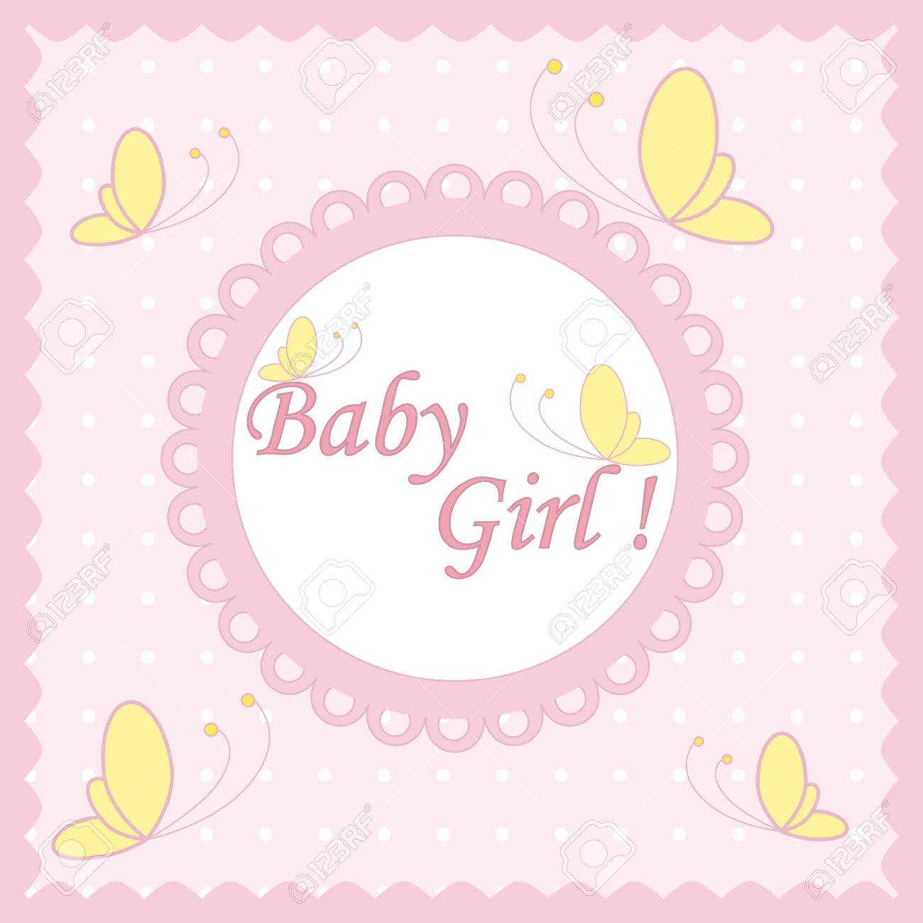 pink card baby girl with butterfly Stock Vector - 13725204