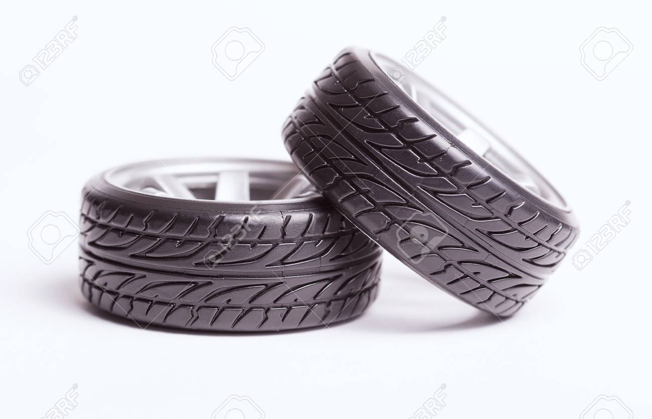 Rc Drift Tires And Rims Isolated On White Background Stock Photo
