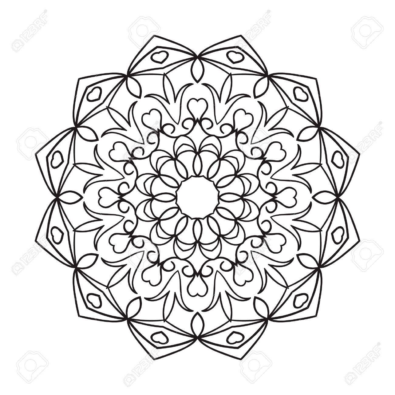 Mandala. Dibujo Negro Aislado En Blanco. Diseño De Página Del Libro ...