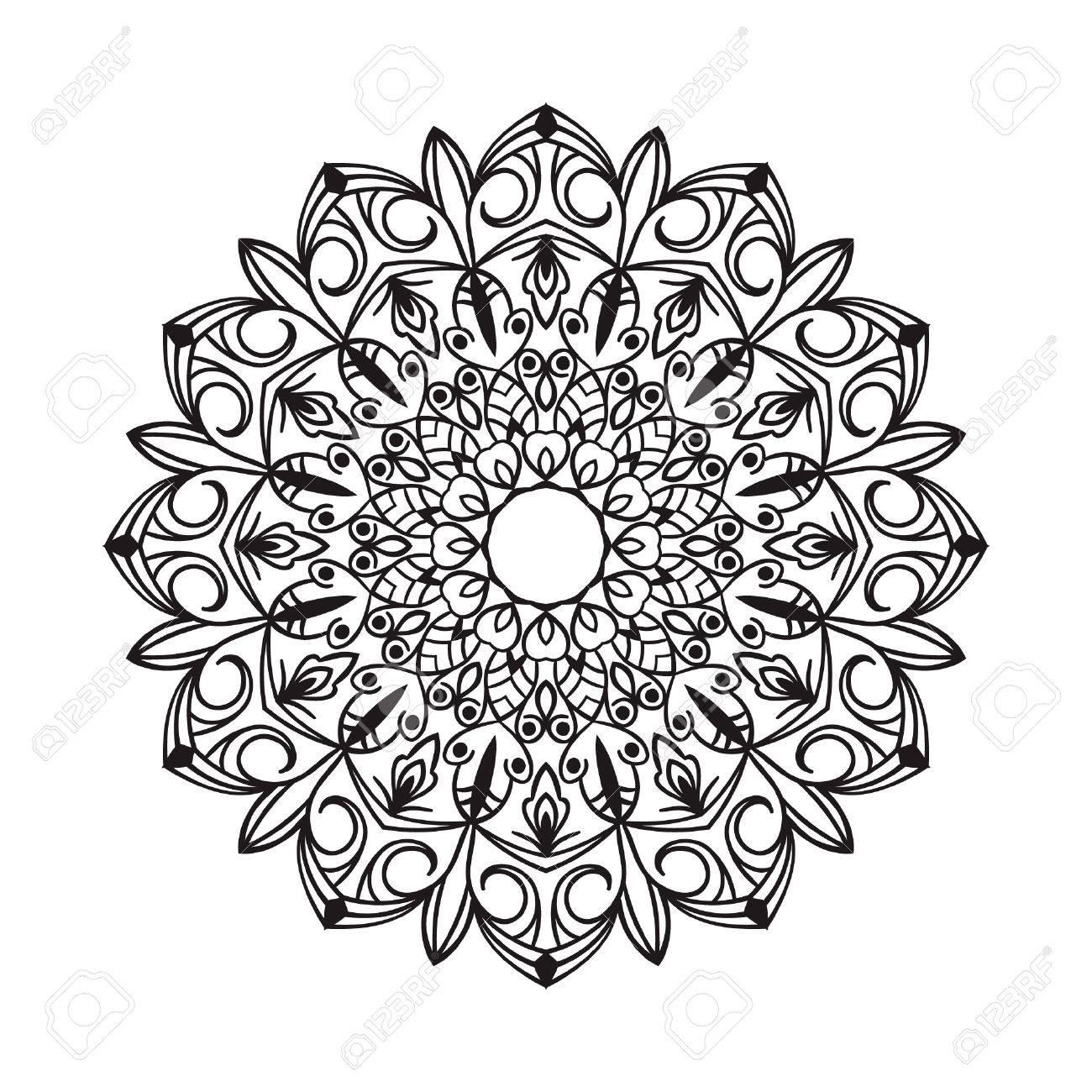 Mandala Dibujo Negro Aislado En Blanco Diseño De Página Del Libro