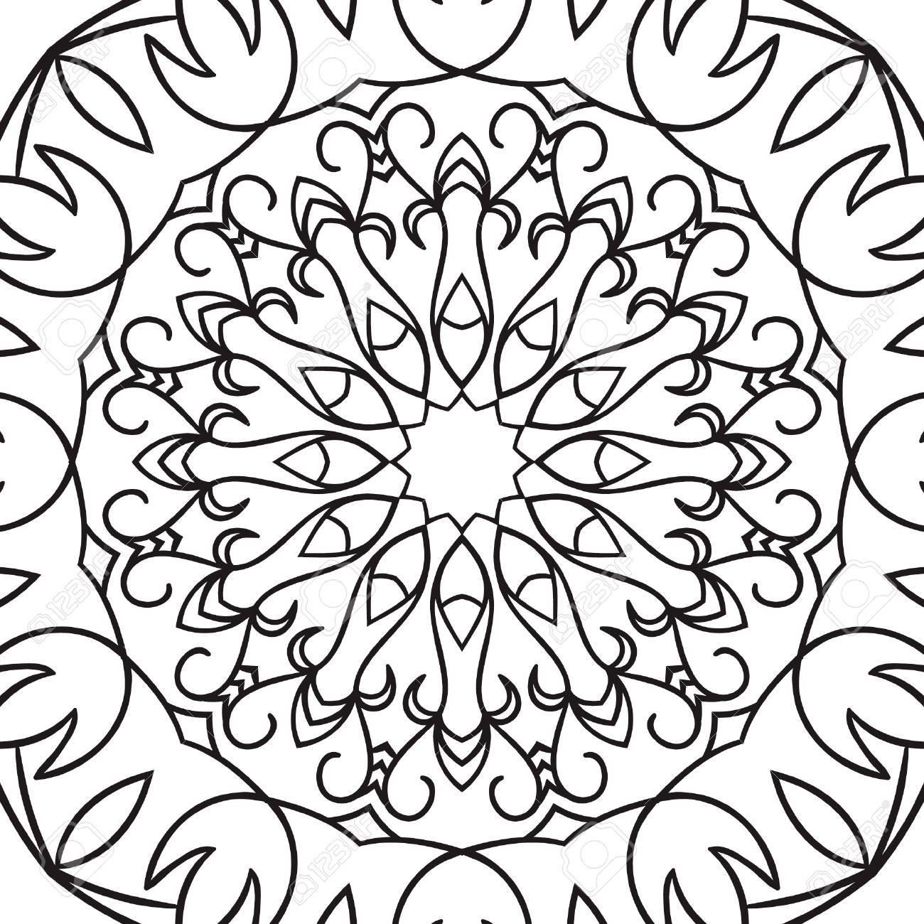 Hermoso Vector Mandala. Dibujo Negro Aislado En Blanco. Diseño Para ...